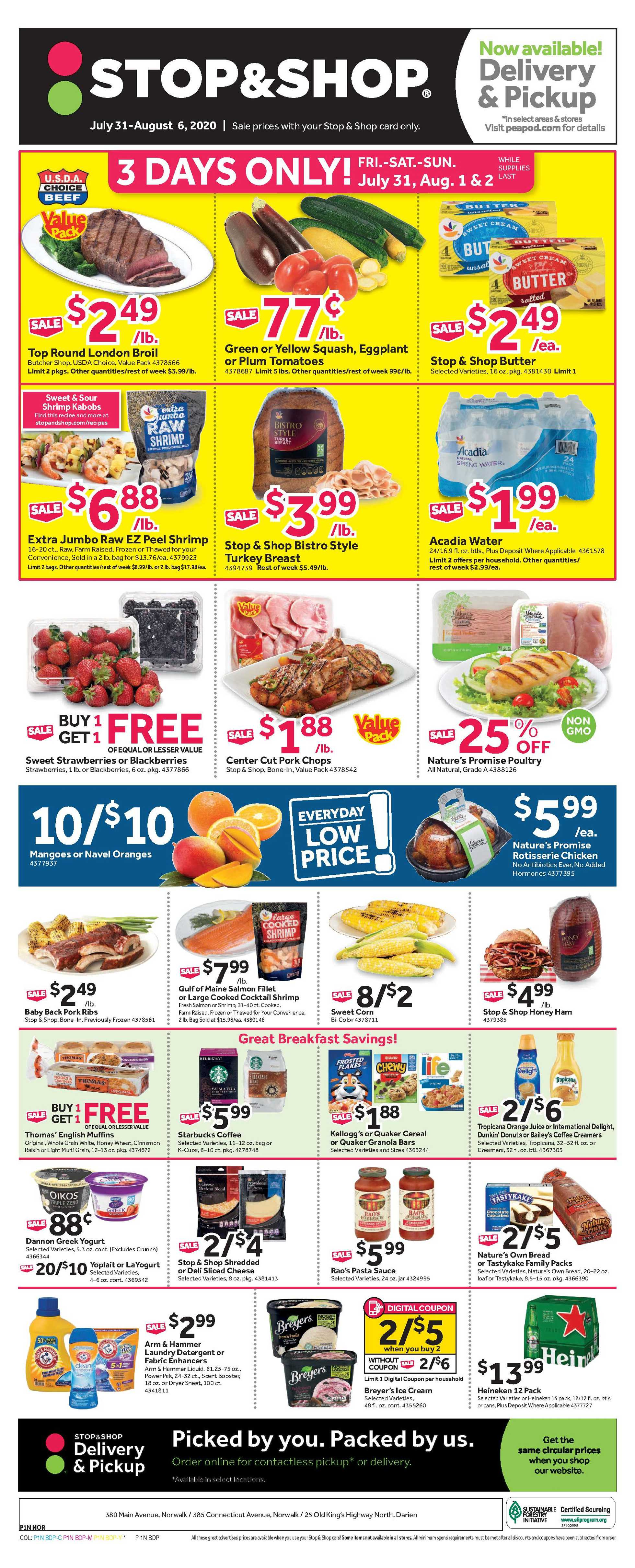 Stop & Shop - deals are valid from 07/31/20 to 08/06/20 - page 1.