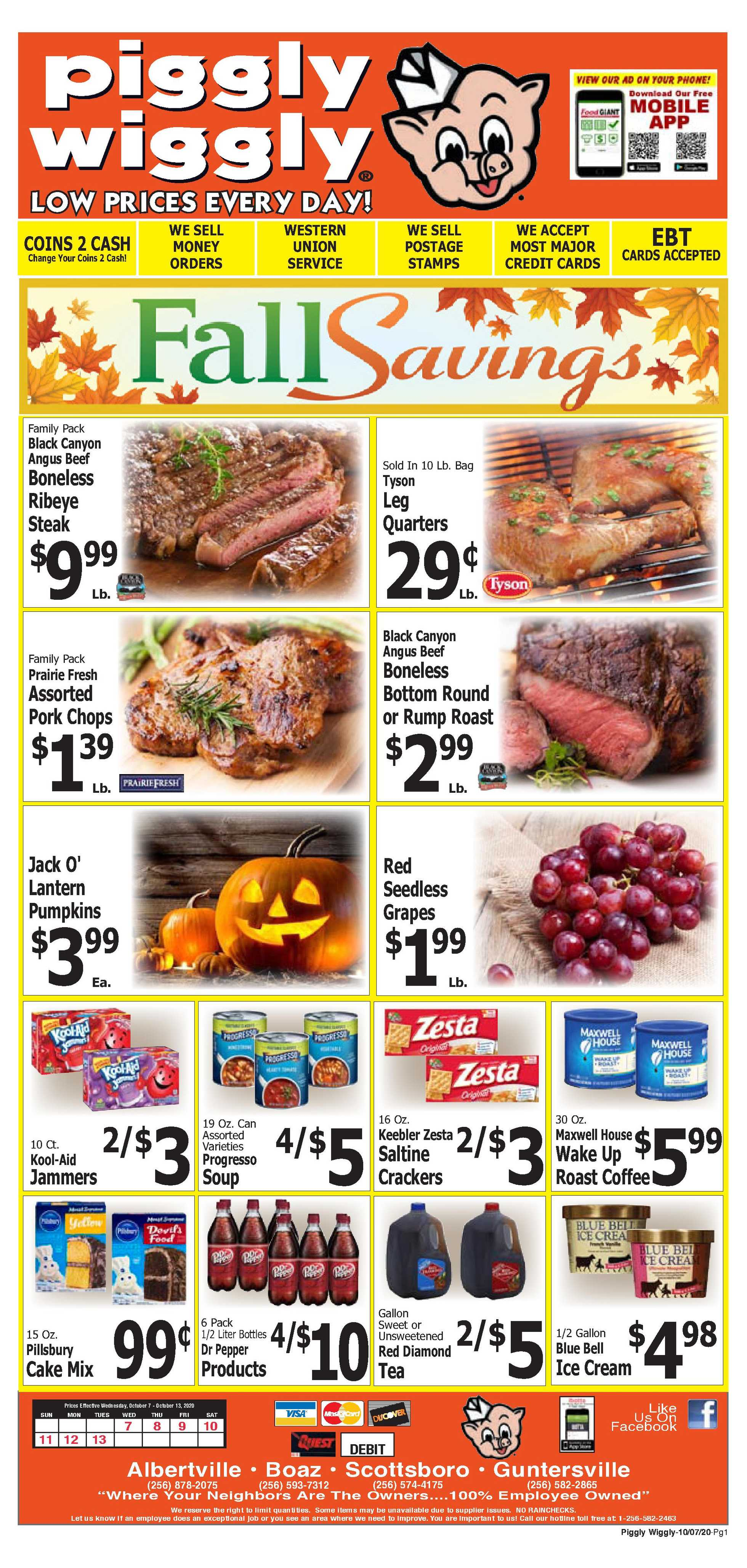 Piggly Wiggly - deals are valid from 10/07/20 to 10/13/20 - page 1.