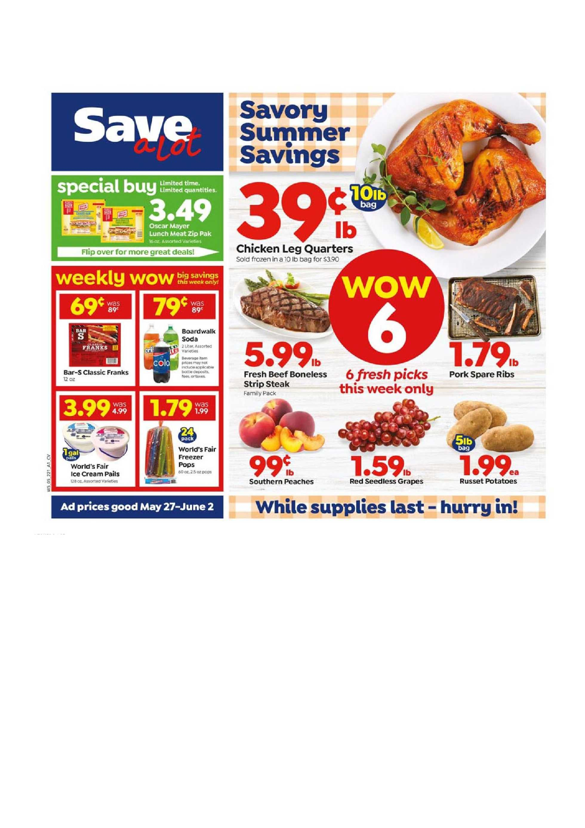 Save-A-Lot - deals are valid from 05/27/20 to 06/02/20 - page 1.