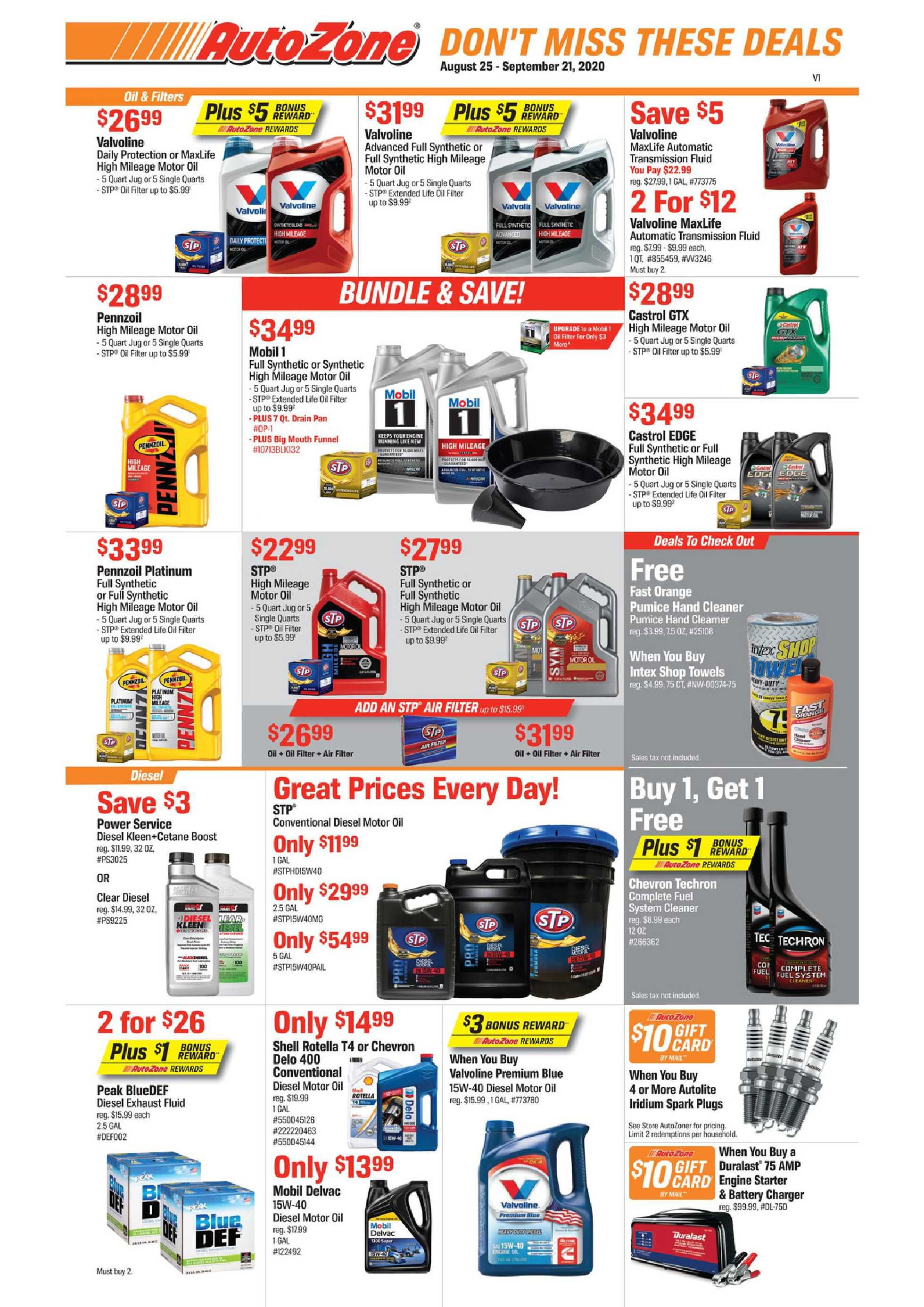 AutoZone - deals are valid from 08/25/20 to 09/21/20 - page 1.