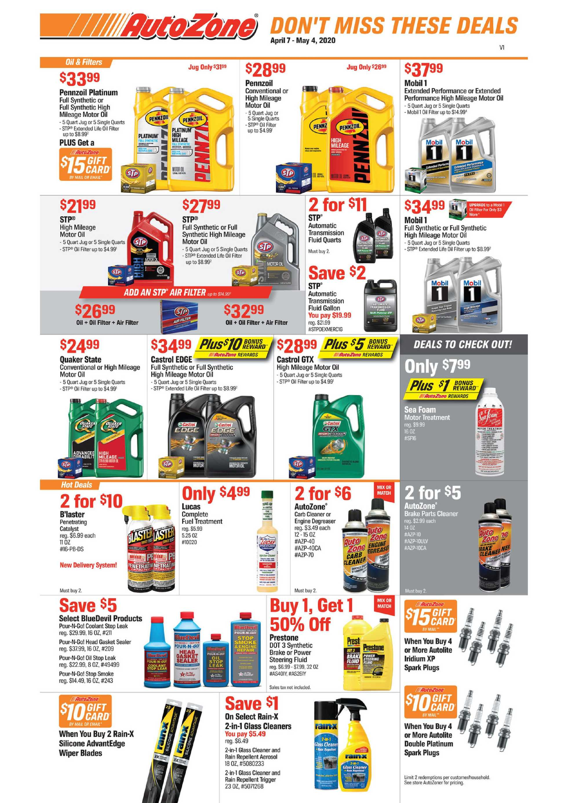 AutoZone - deals are valid from 04/07/20 to 05/04/20 - page 1.