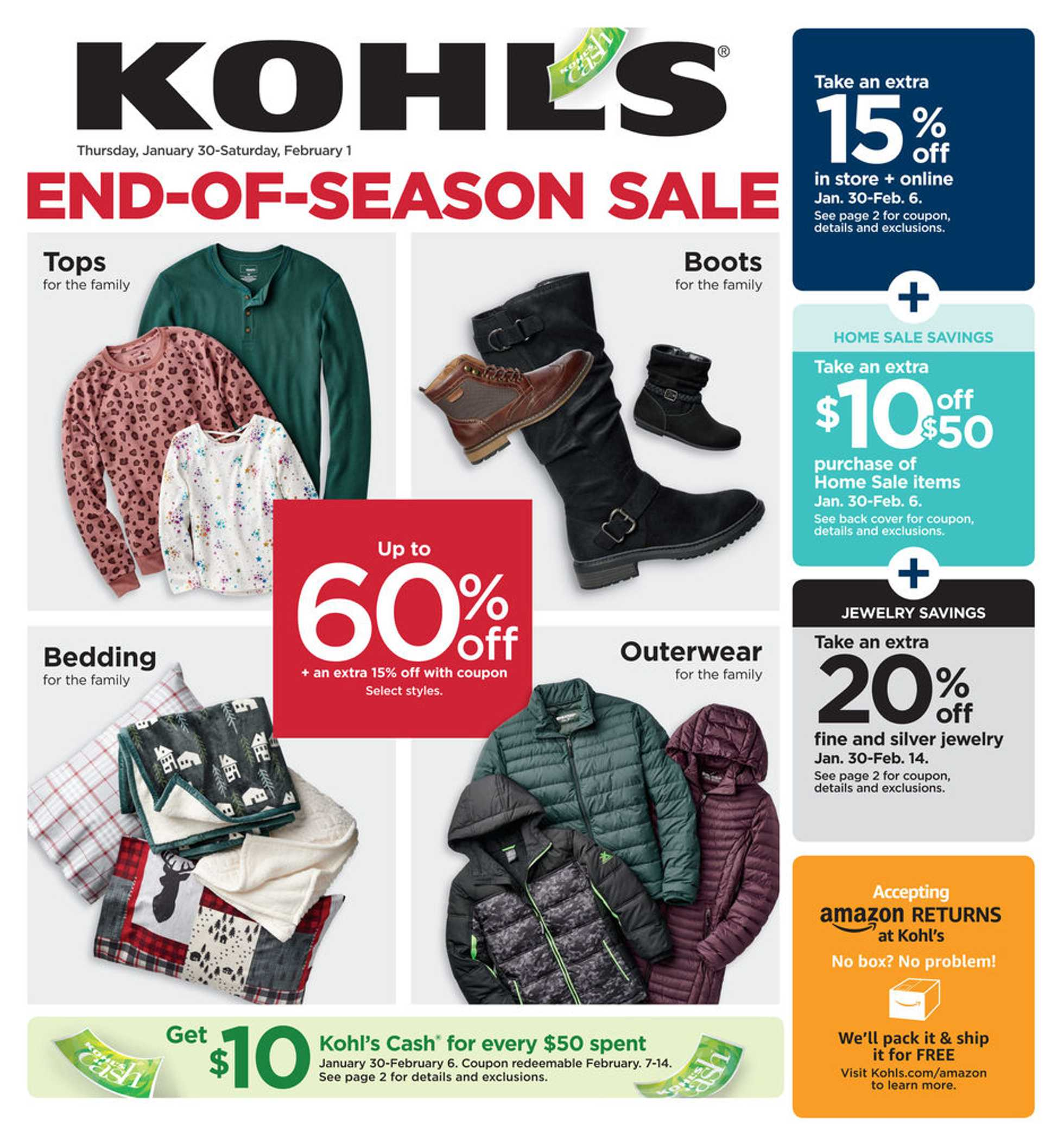 Kohl's - deals are valid from 01/30/20 to 02/01/20 - page 1.