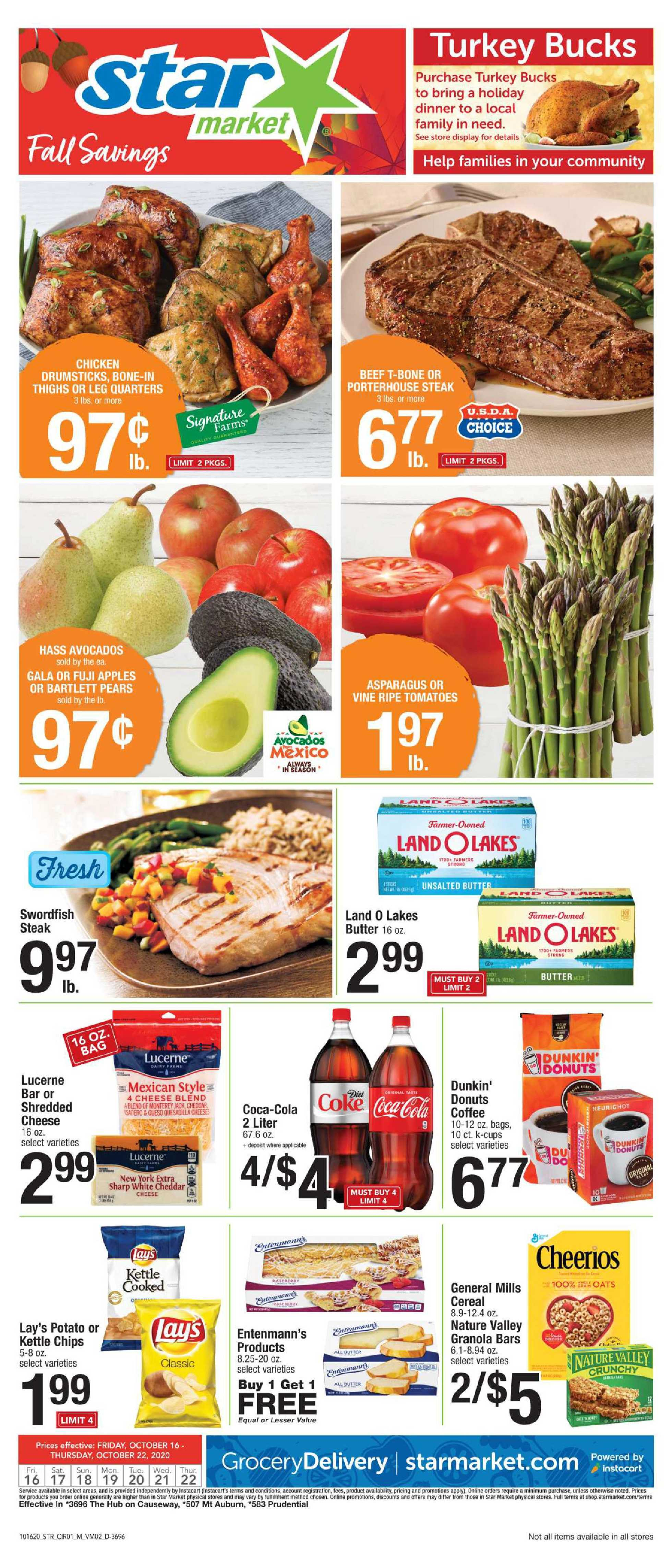 Star Market - deals are valid from 10/16/20 to 10/22/20 - page 1.
