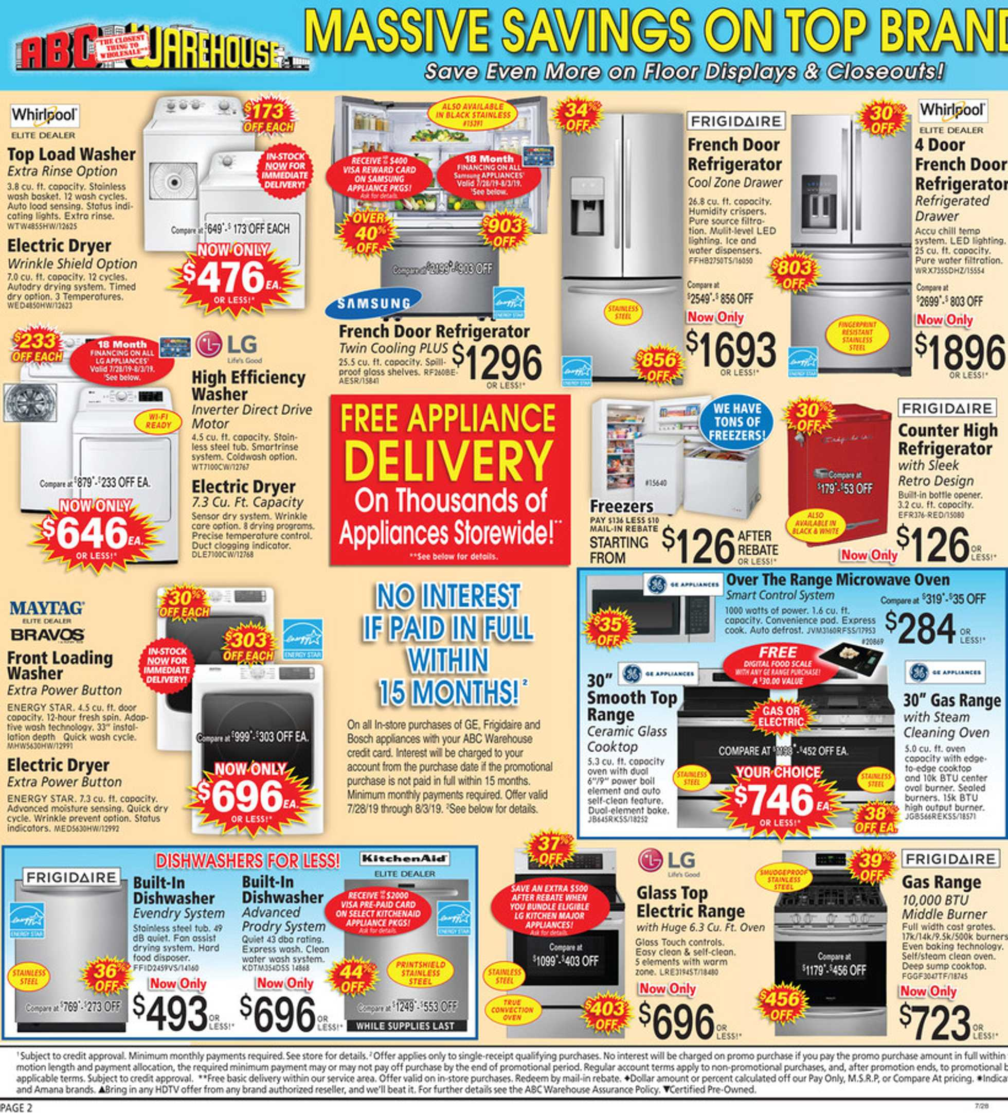 ABC Warehouse - deals are valid from 07/28/19 to 08/03/19 - page 2.