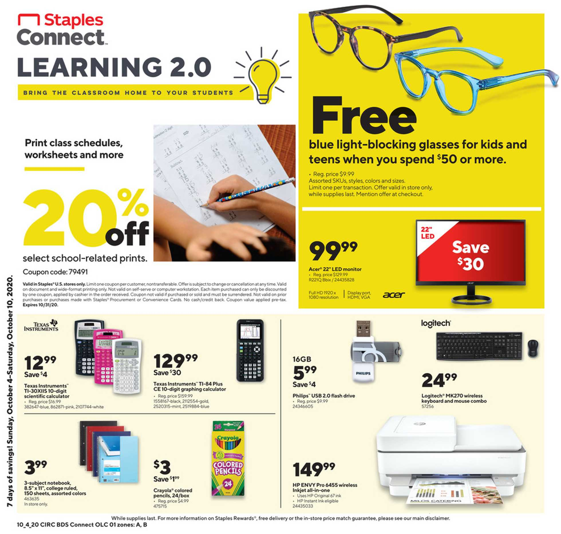 Staples - deals are valid from 10/04/20 to 10/10/20 - page 1.