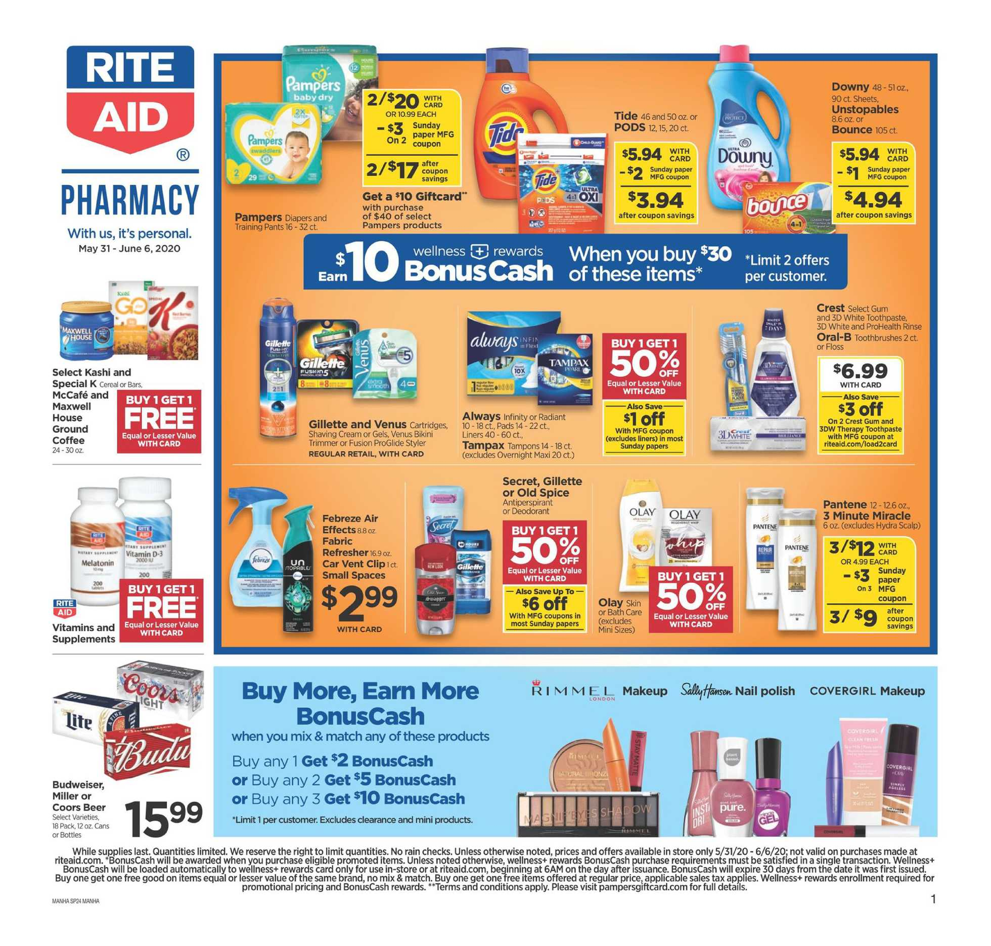 Rite Aid - deals are valid from 05/31/20 to 06/06/20 - page 1.