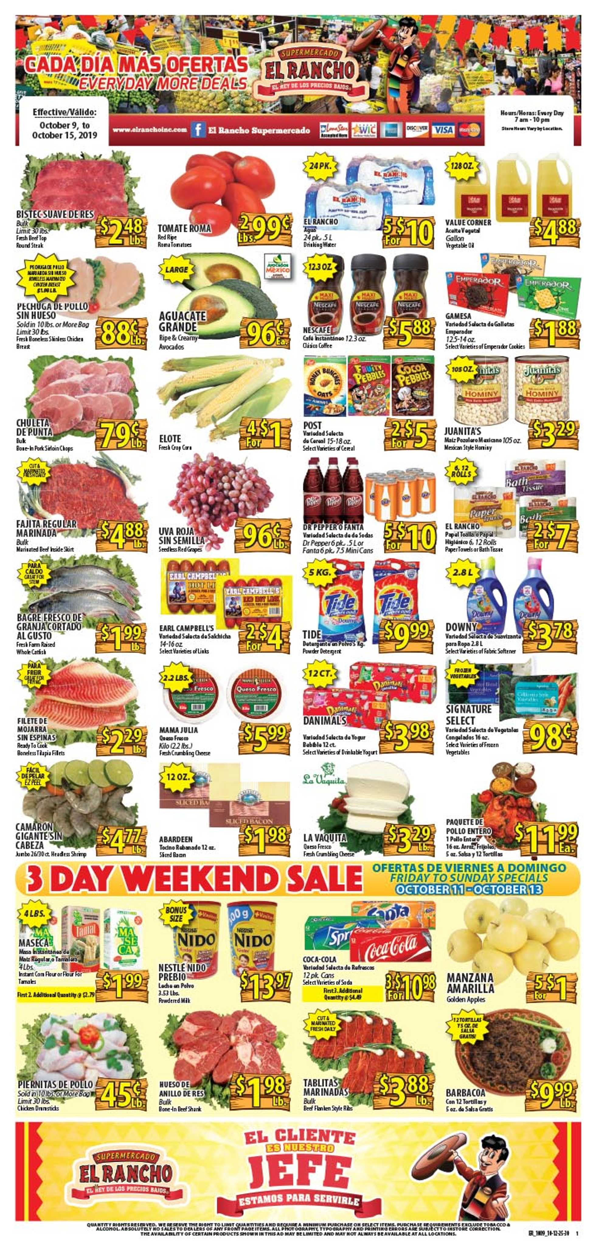 El Rancho Supermarket - deals are valid from 10/09/19 to 10/15/19 - page 1.
