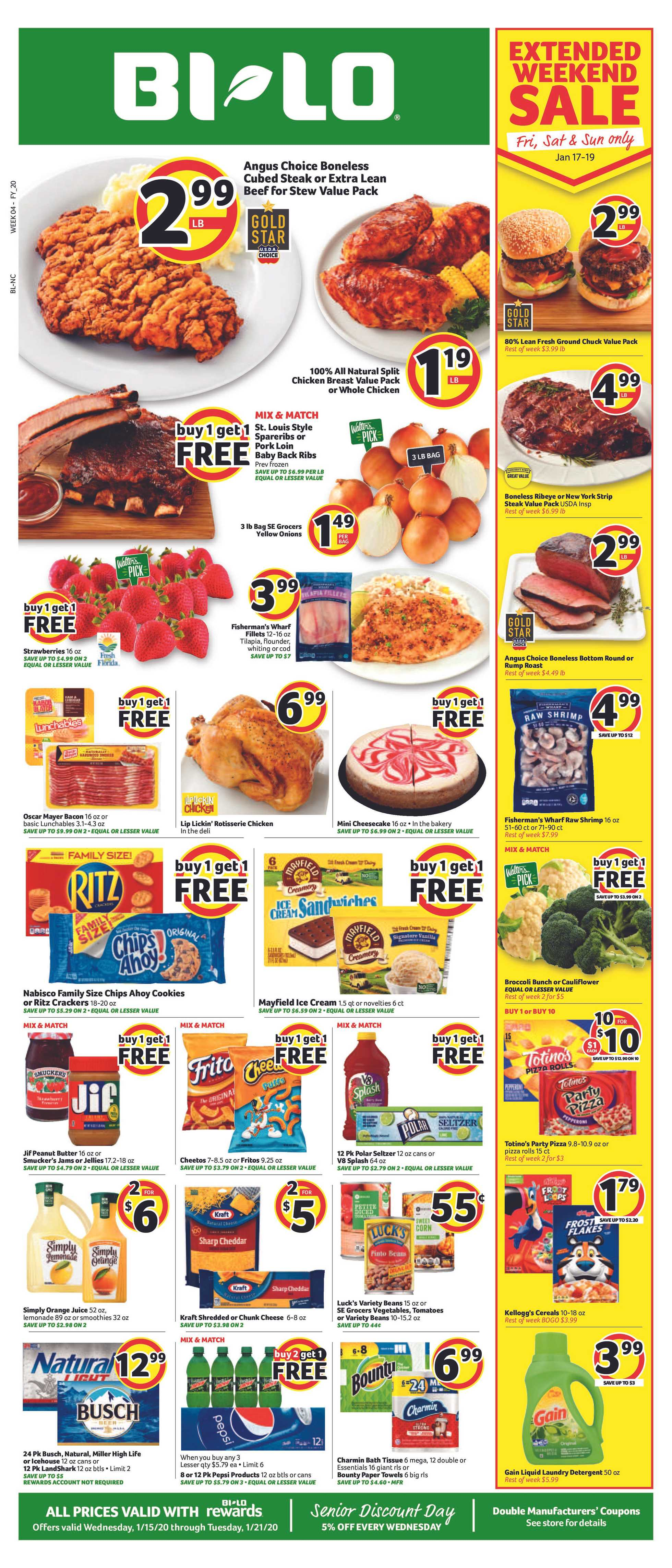 BILO - deals are valid from 01/15/20 to 01/21/20 - page 1.