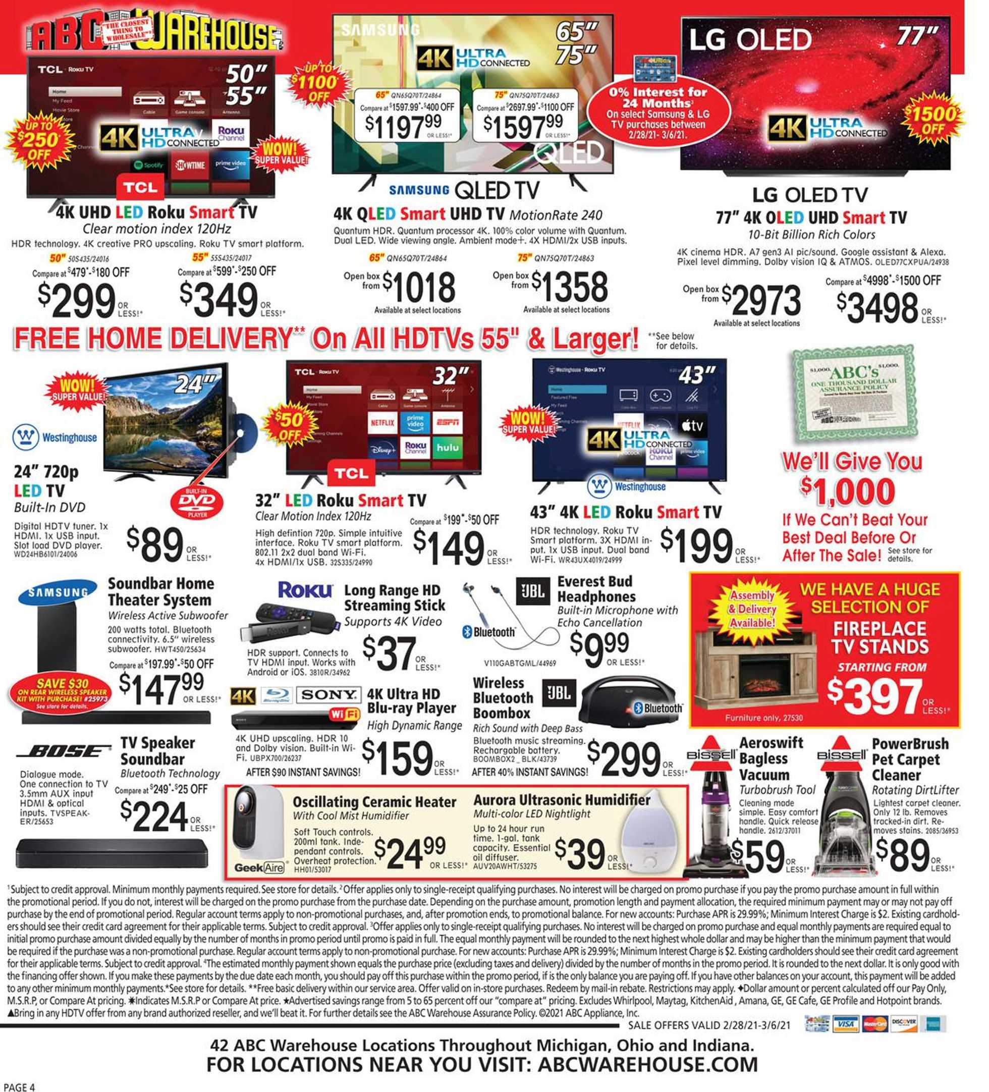 ABC Warehouse - deals are valid from 02/28/21 to 03/06/21 - page 4.