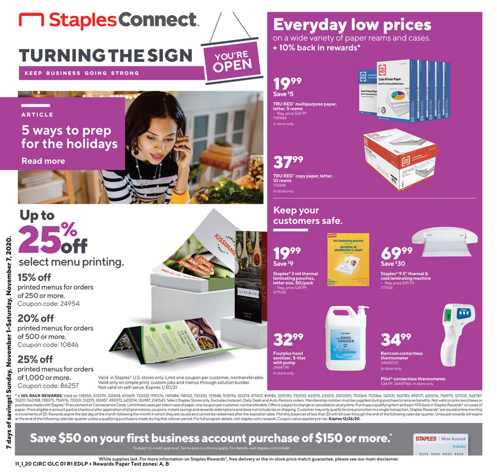 Staples - deals are valid from 11/01/20 to 11/07/20 - page 1.