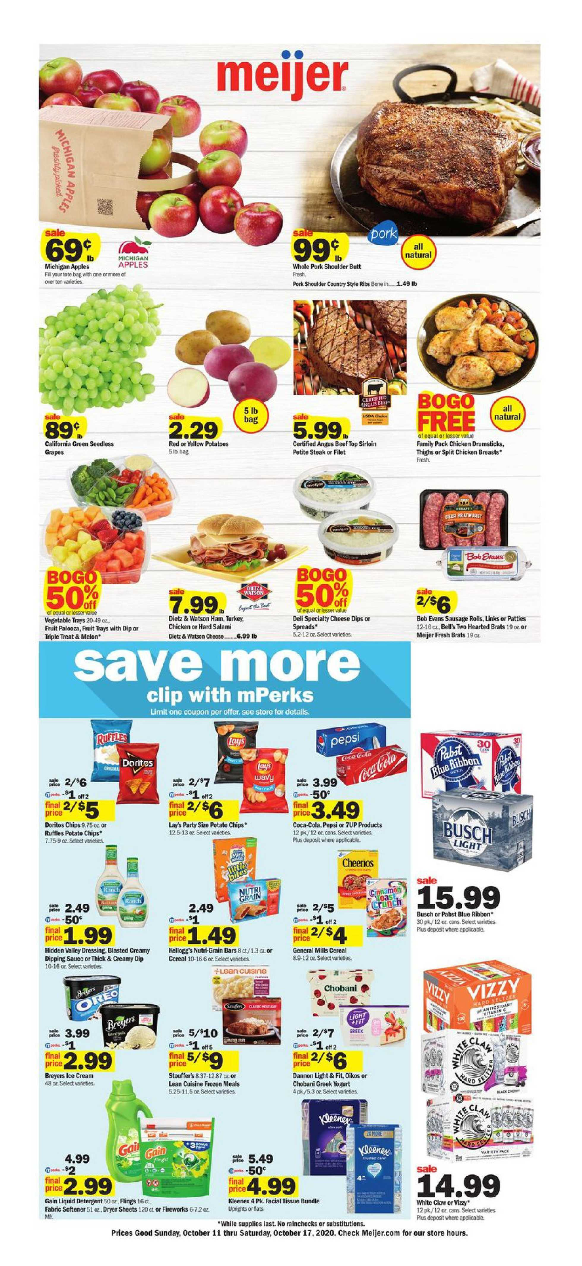 Meijer - deals are valid from 10/11/20 to 10/17/20 - page 1.