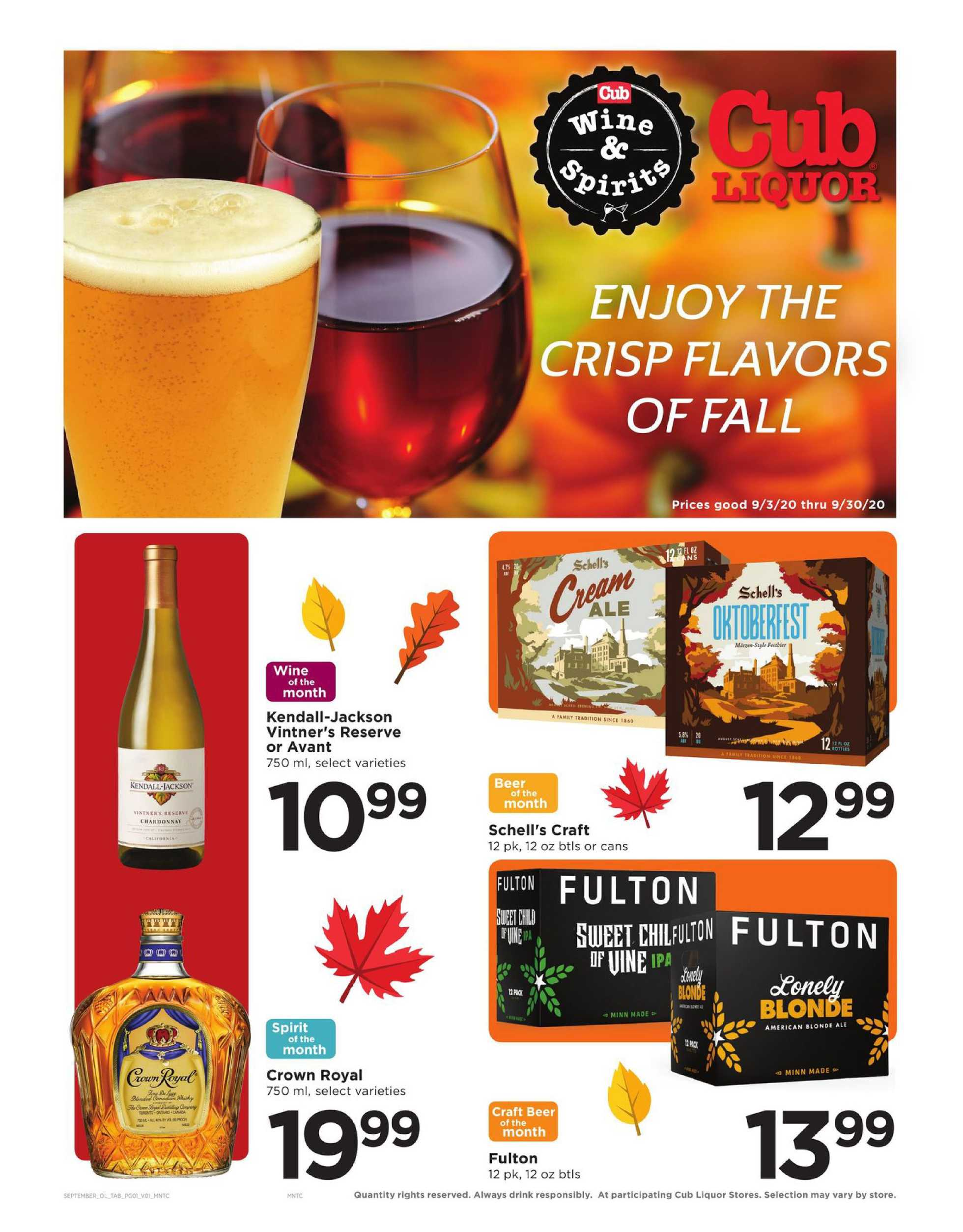 Cub - deals are valid from 09/03/20 to 09/30/20 - page 1.