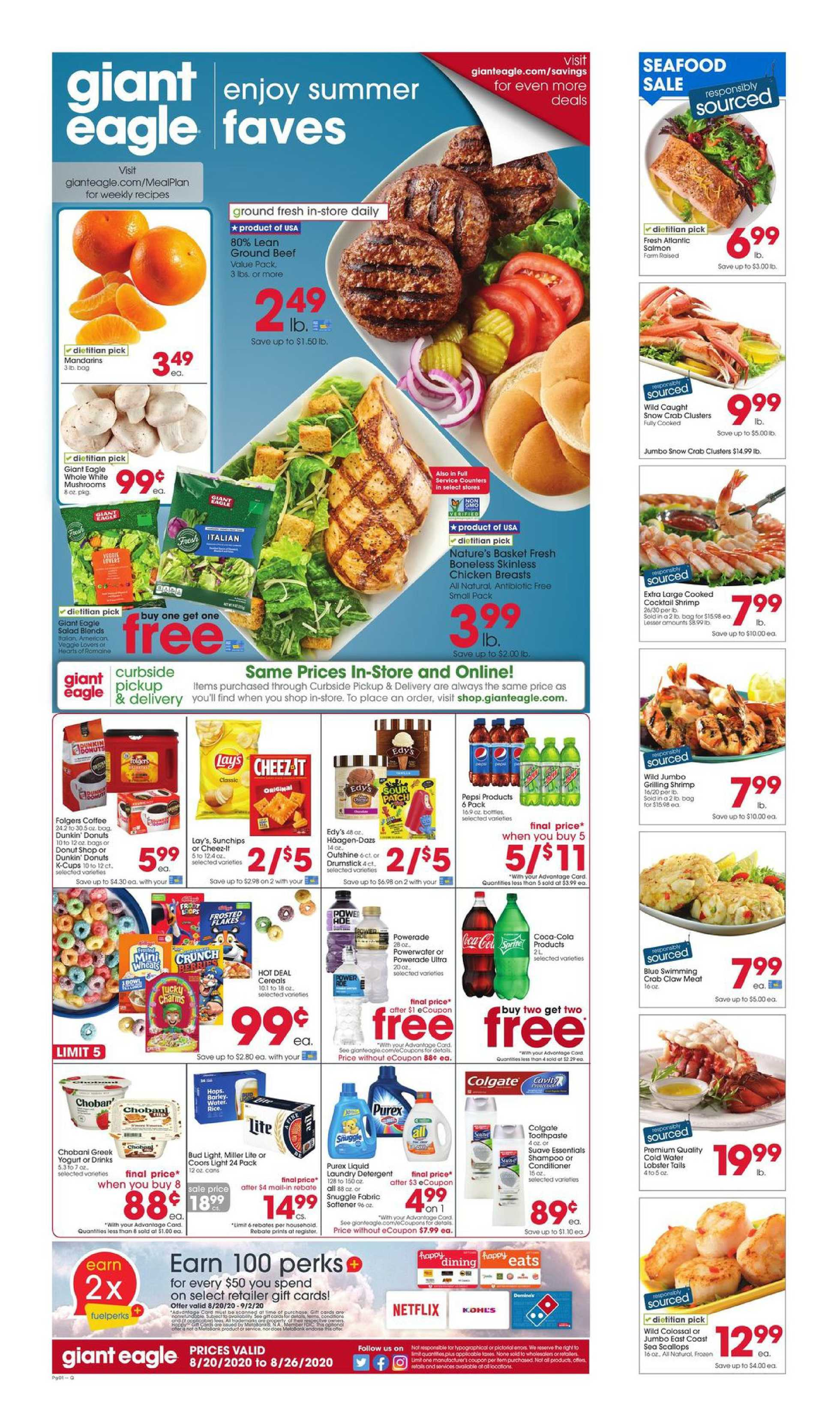 Giant Eagle - deals are valid from 08/20/20 to 08/26/20 - page 1.