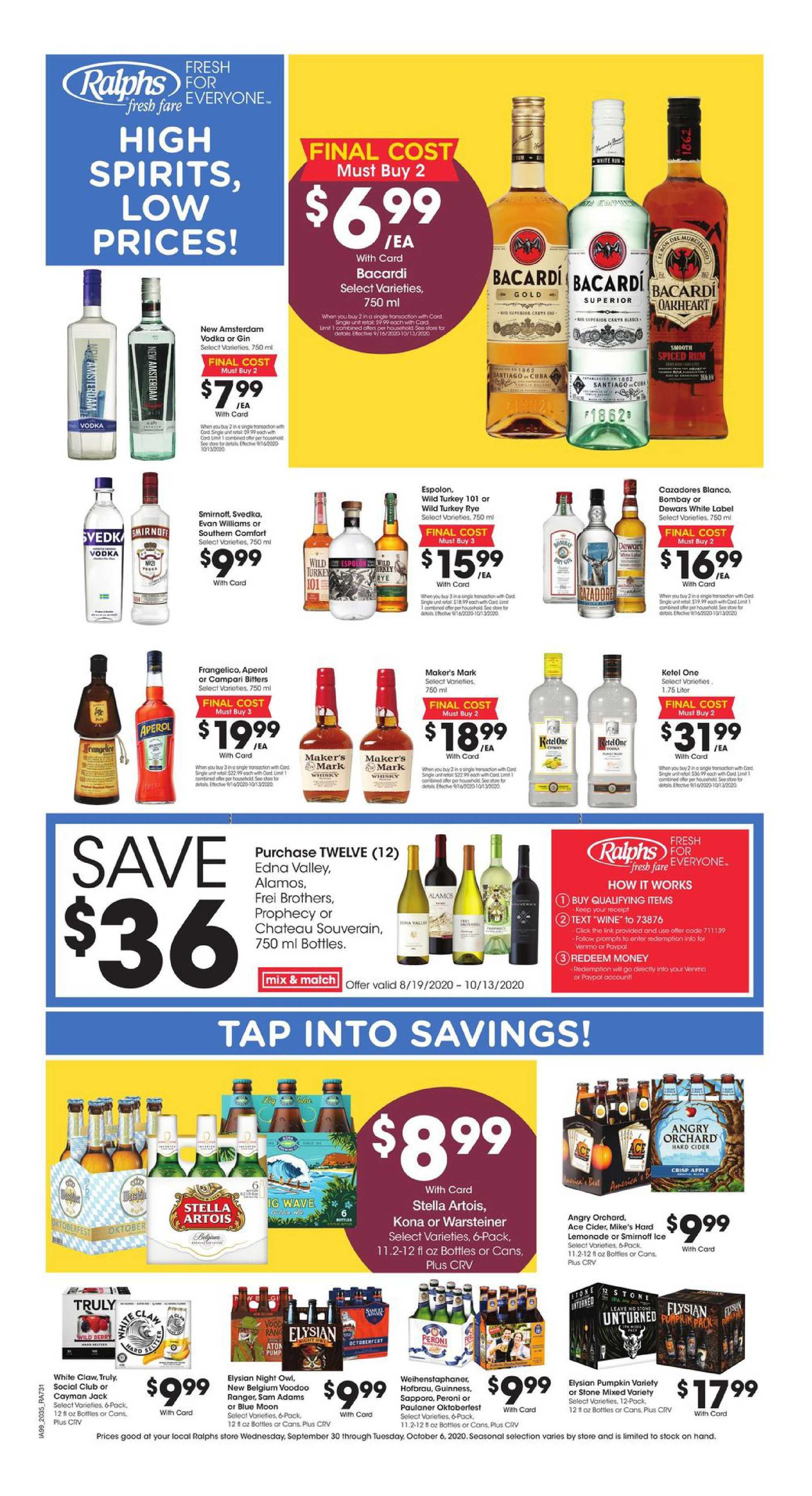Ralphs - deals are valid from 09/30/20 to 10/06/20 - page 1.