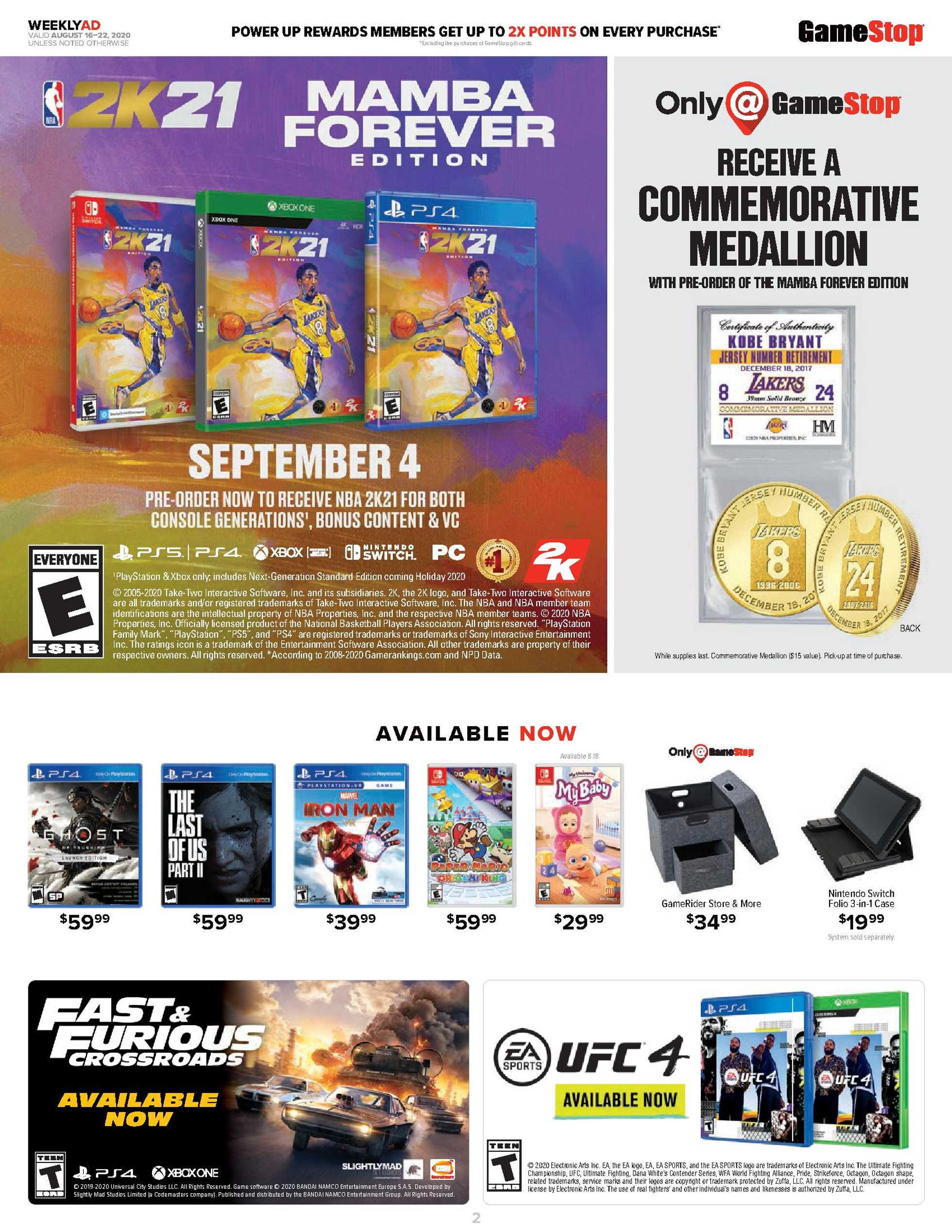 GameStop - deals are valid from 08/16/20 to 08/22/20 - page 1.