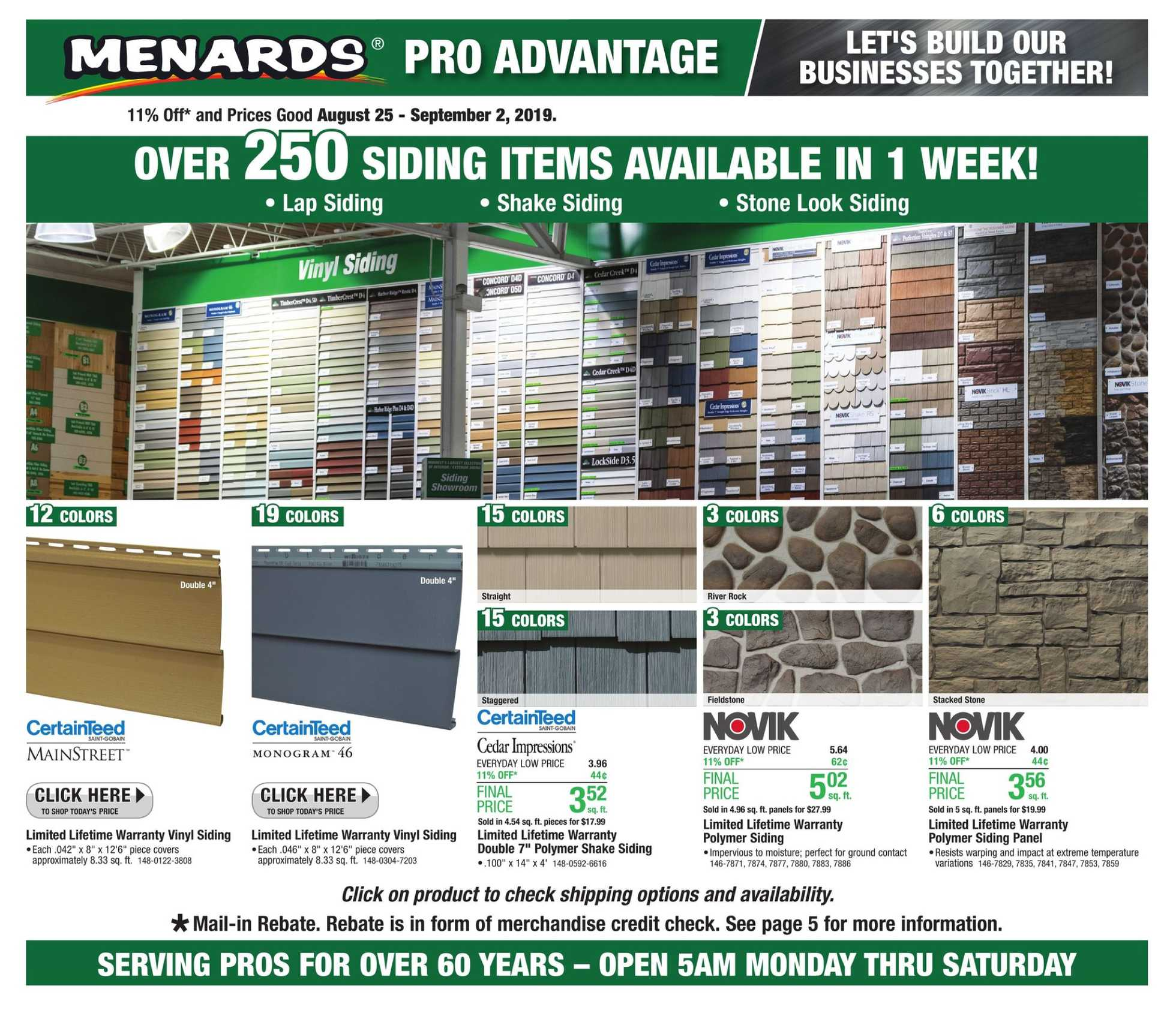 Menards - deals are valid from 08/25/19 to 09/02/19 - page 1.