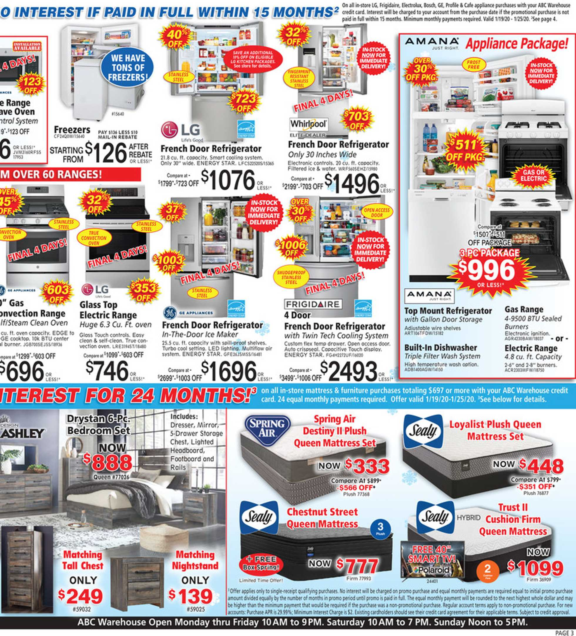 ABC Warehouse - deals are valid from 01/19/20 to 01/25/20 - page 3.