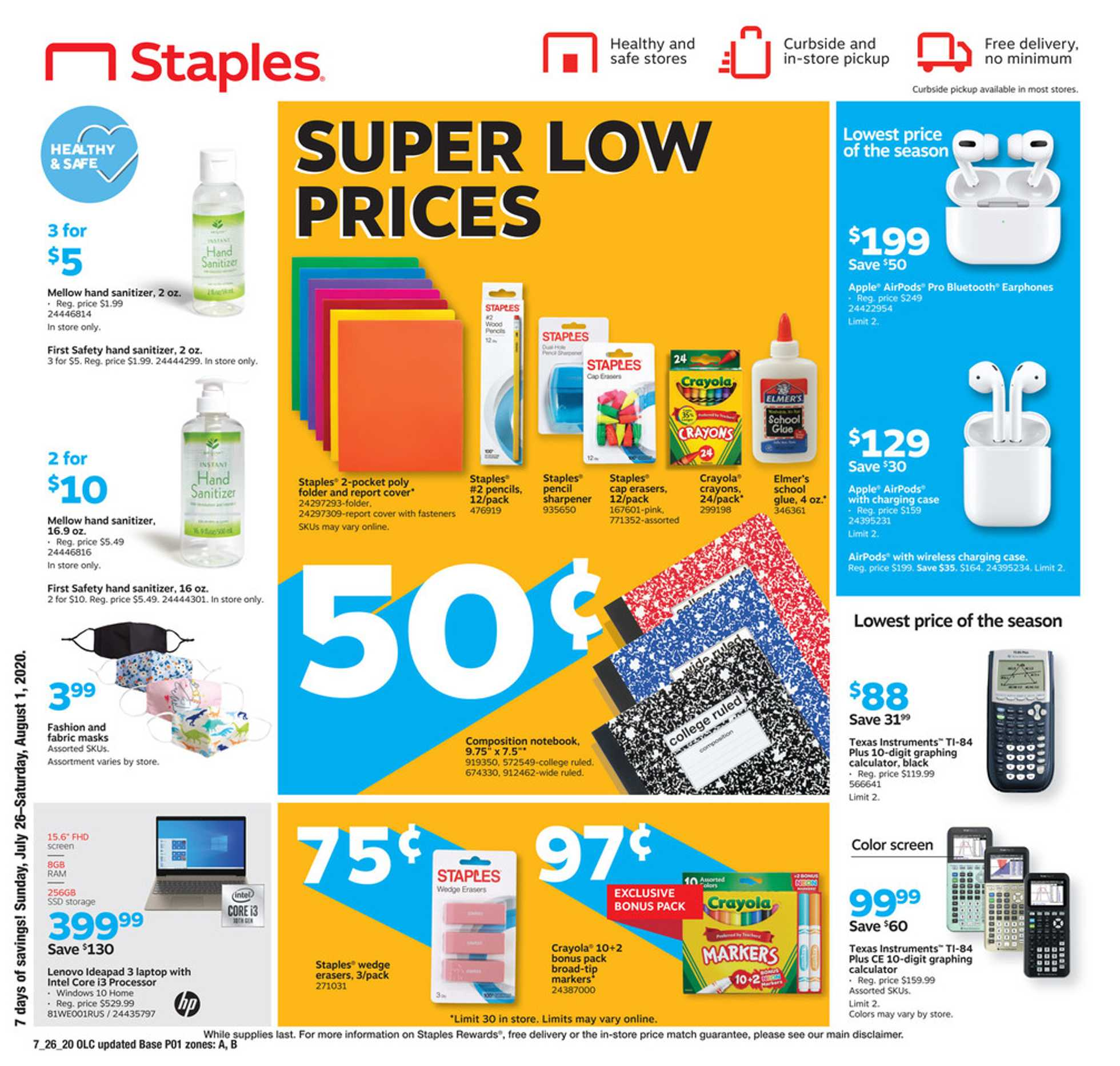 Staples - deals are valid from 07/26/20 to 08/01/20 - page 1.