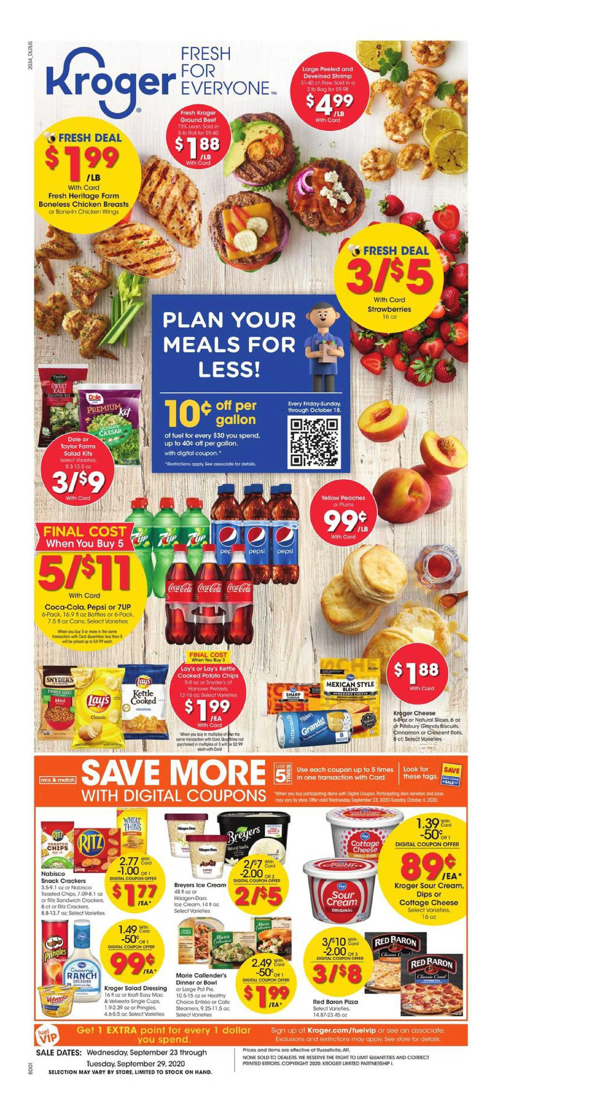 Kroger - deals are valid from 09/23/20 to 09/29/20 - page 1.