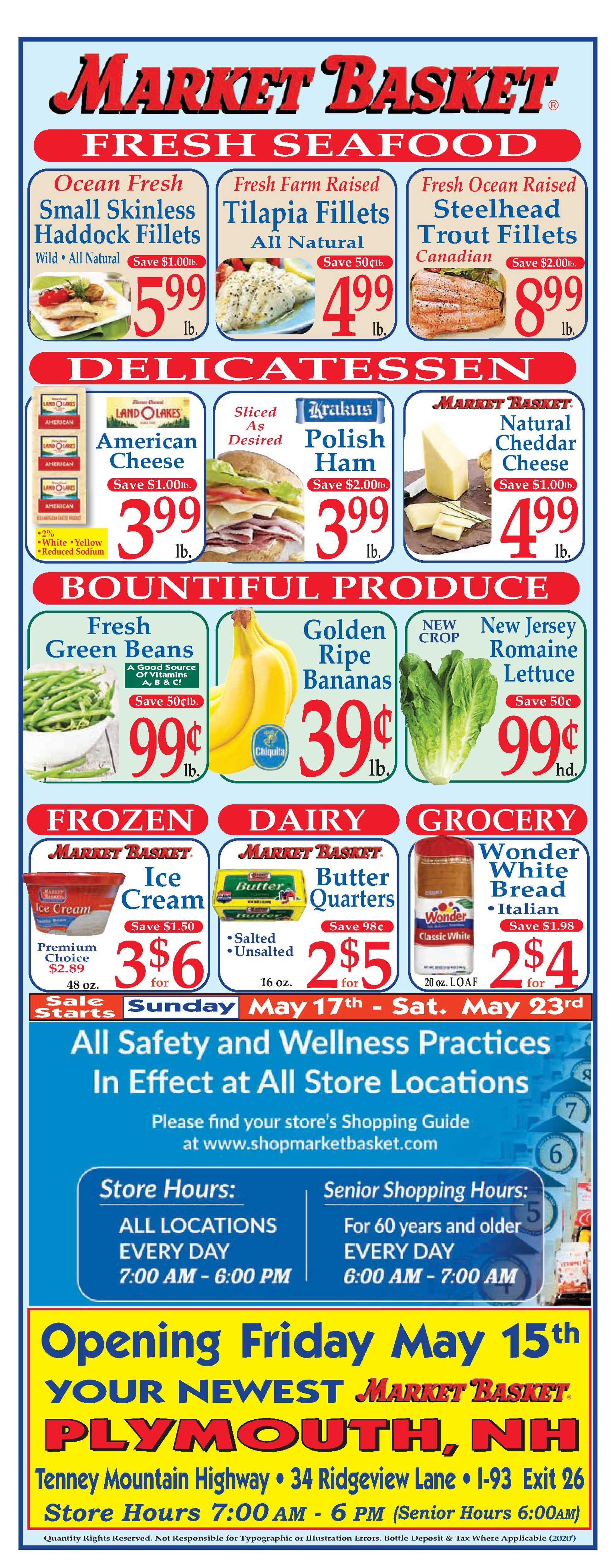 Market Basket - deals are valid from 05/17/20 to 05/23/20 - page 1.