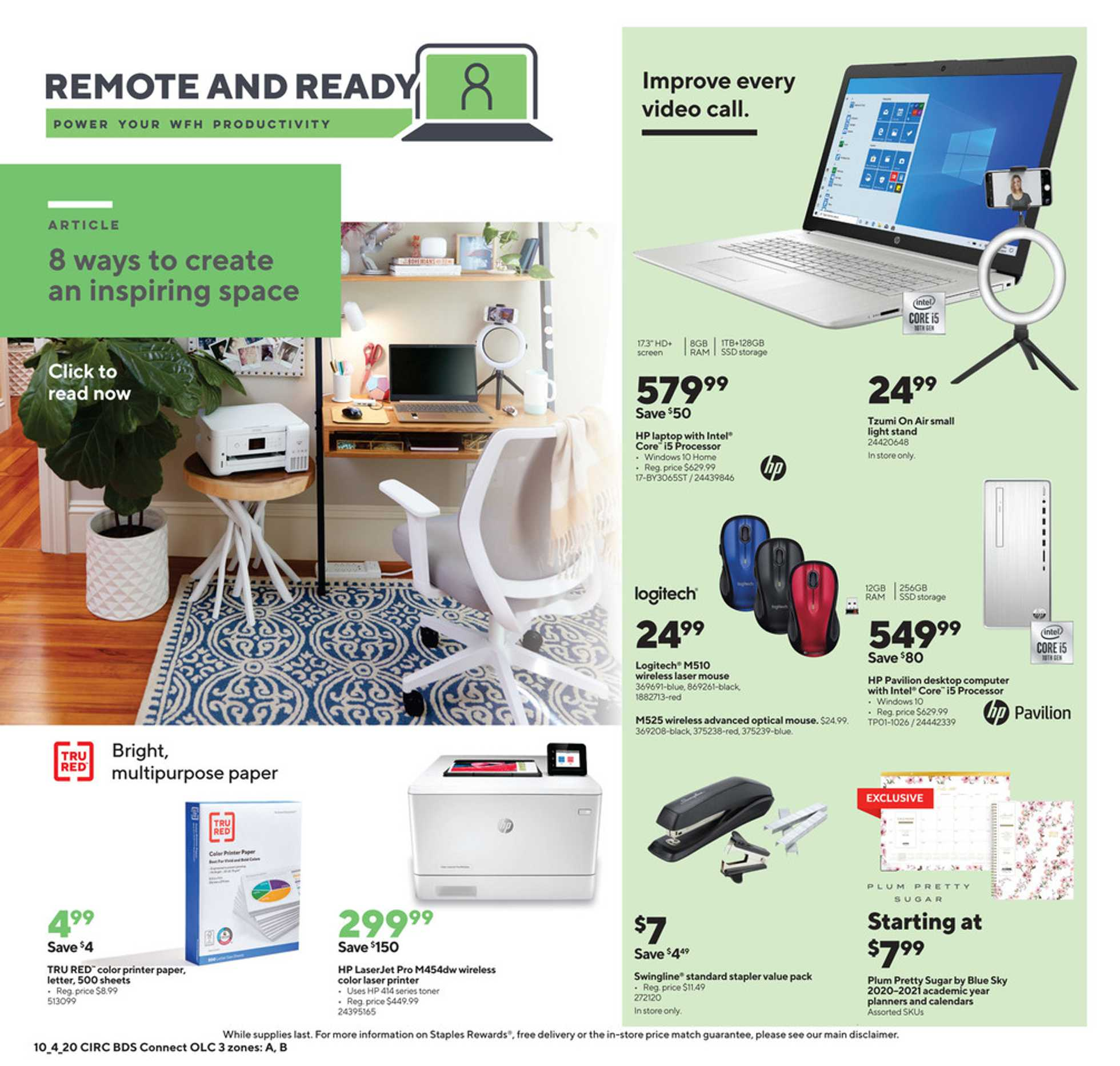 Staples - deals are valid from 10/04/20 to 10/10/20 - page 3.