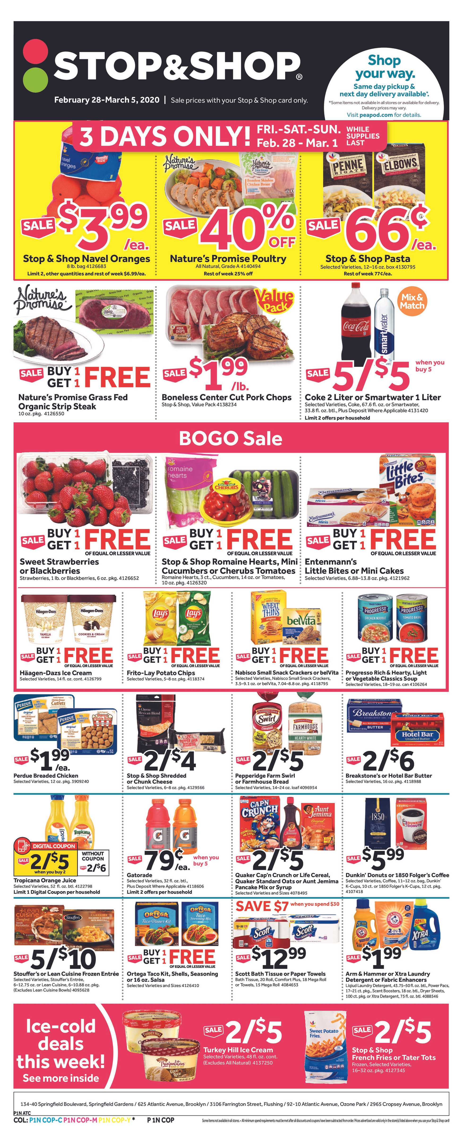 Stop & Shop - deals are valid from 02/28/20 to 03/05/20 - page 1.