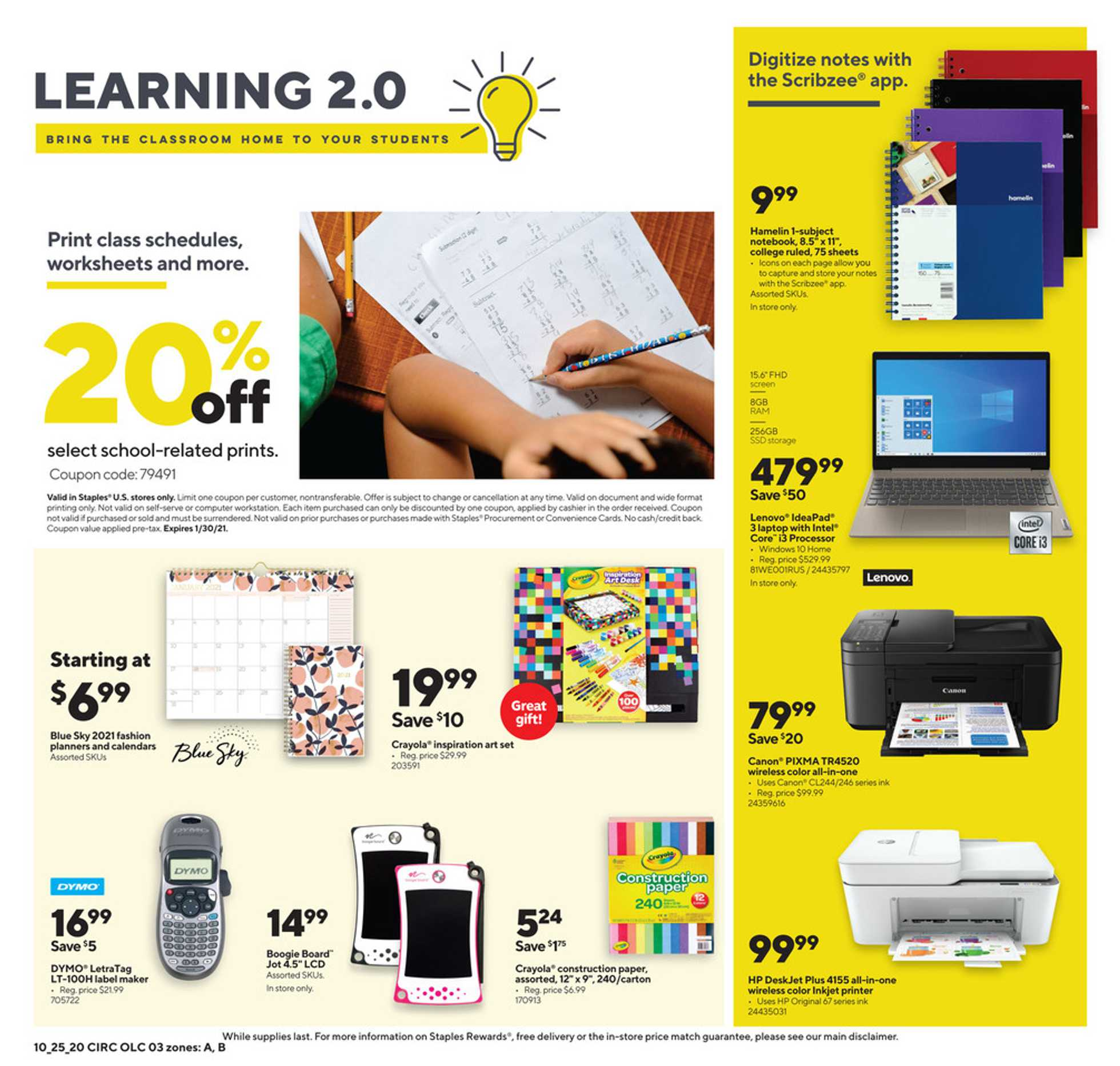 Staples - deals are valid from 10/25/20 to 10/31/20 - page 3.
