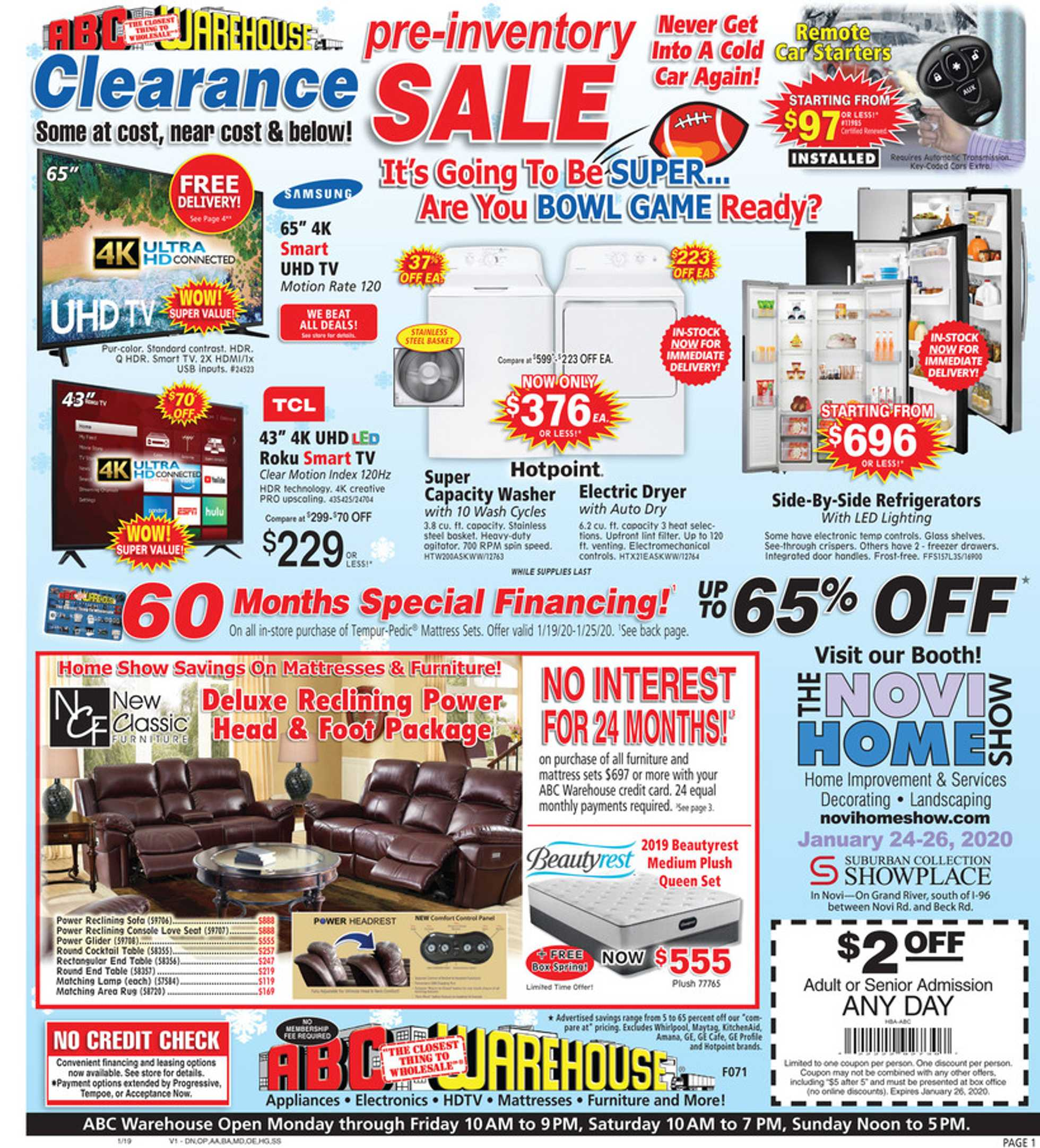 ABC Warehouse - deals are valid from 01/19/20 to 01/25/20 - page 1.