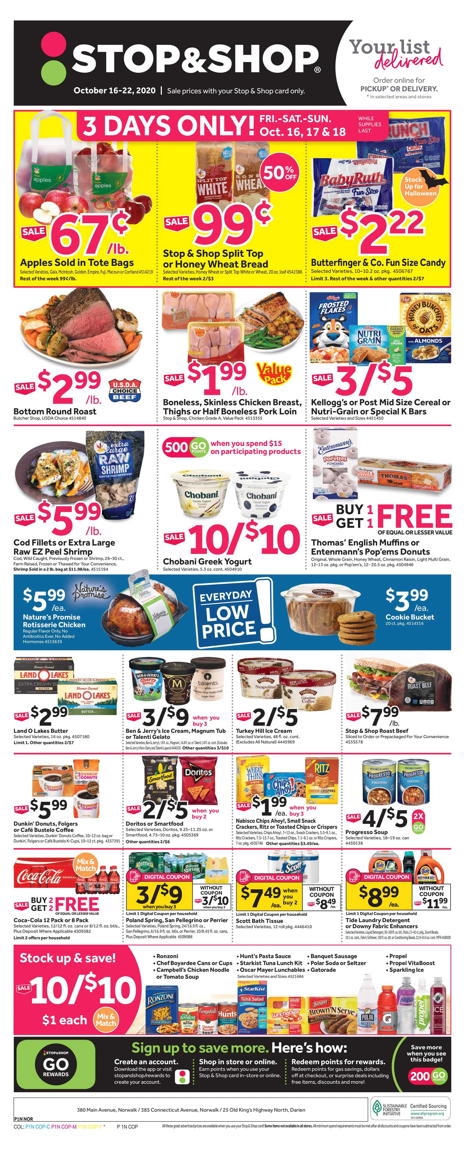 Stop & Shop - deals are valid from 10/16/20 to 10/22/20 - page 1.