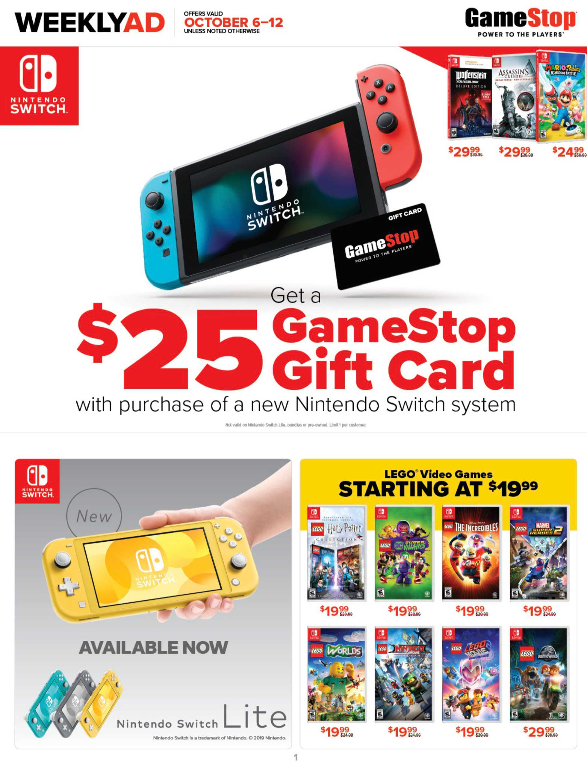 GameStop - deals are valid from 10/06/19 to 10/12/19 - page 1.