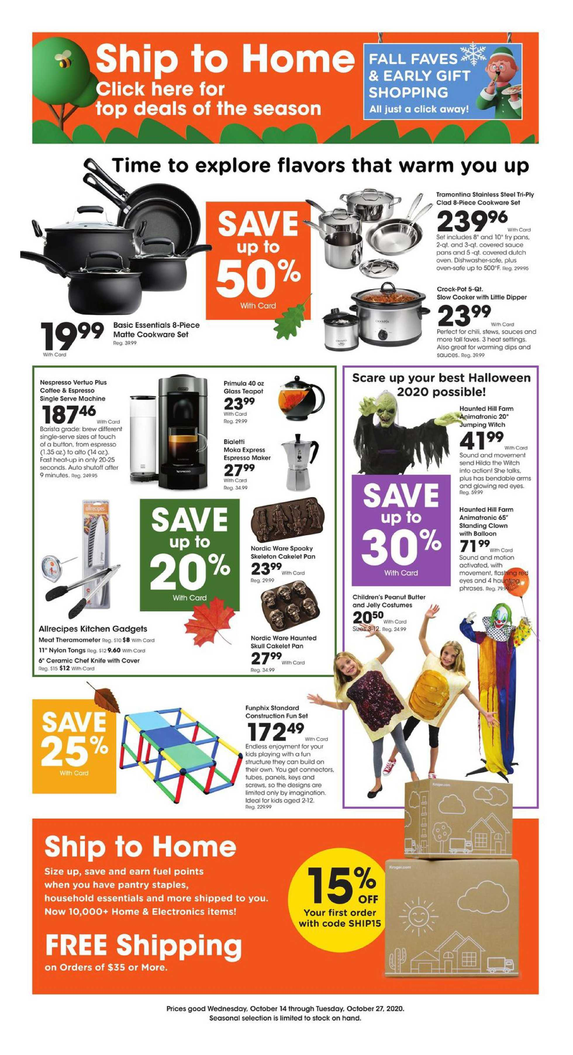 Kroger - deals are valid from 10/14/20 to 10/27/20 - page 1.
