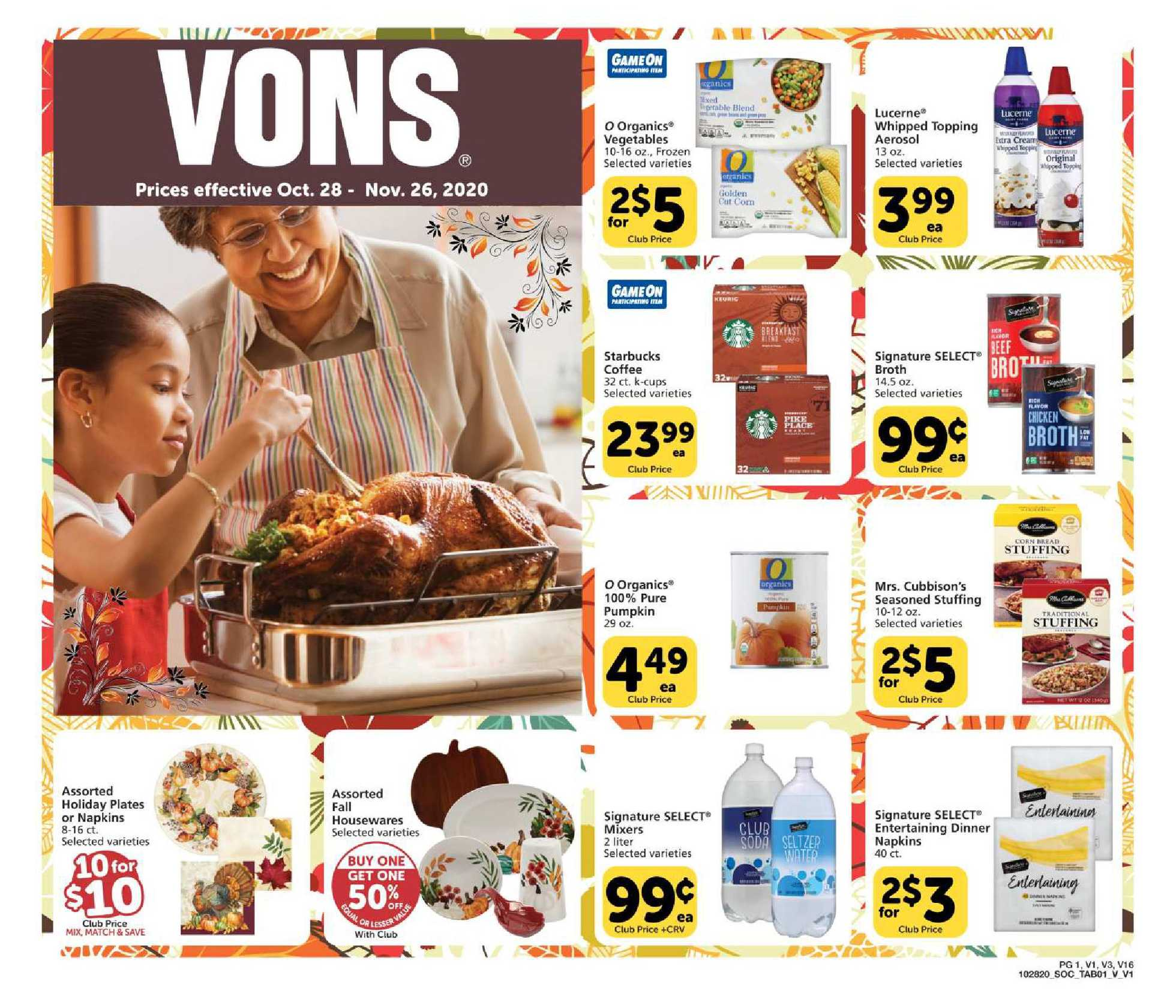Vons - deals are valid from 11/28/20 to 12/26/20 - page 1.