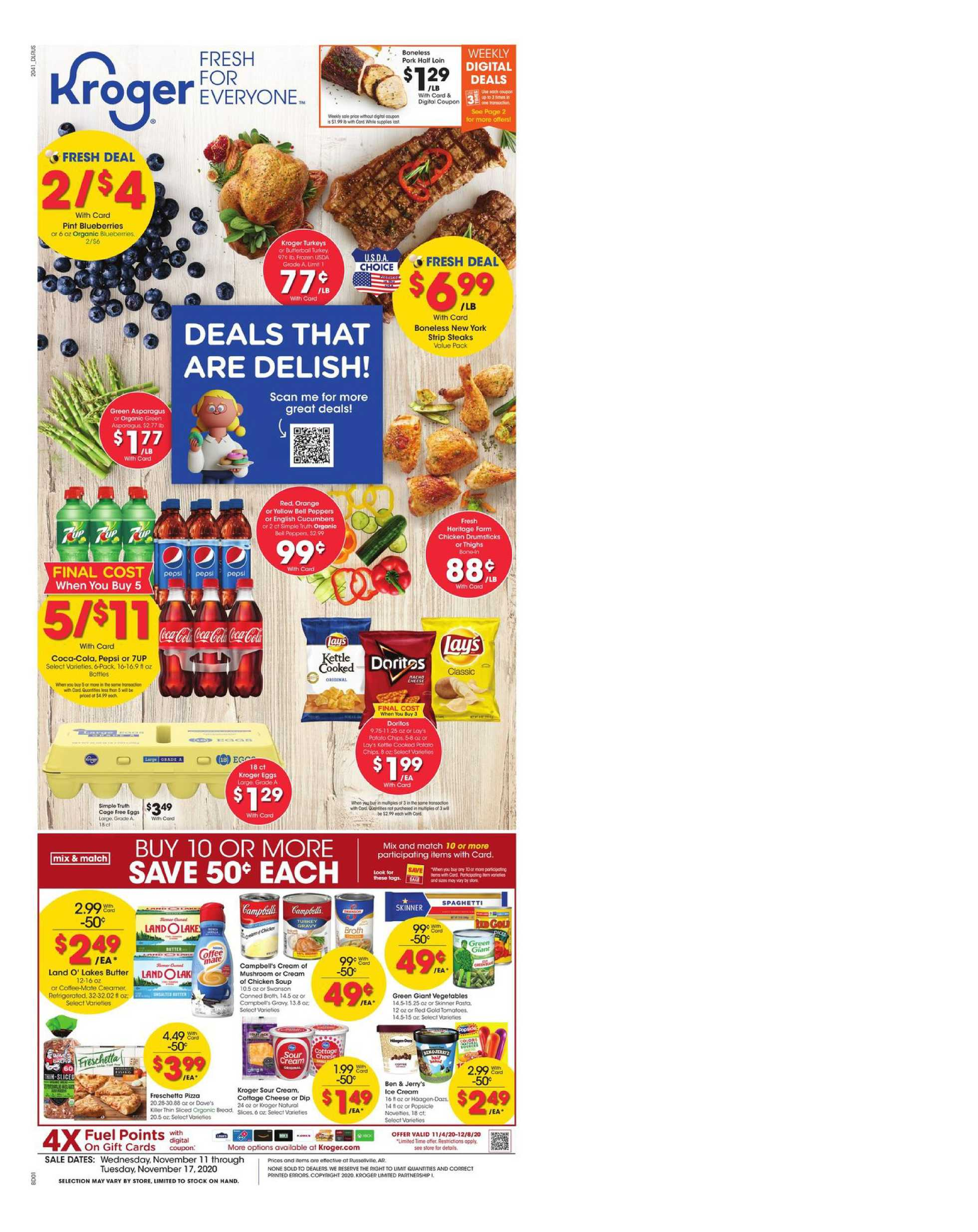 Kroger - deals are valid from 11/11/20 to 11/17/20 - page 1.