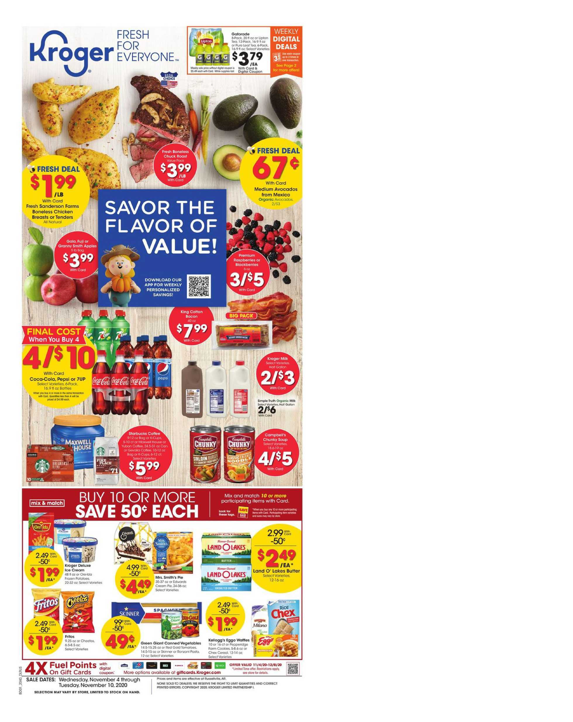 Kroger - deals are valid from 11/04/20 to 11/10/20 - page 1.