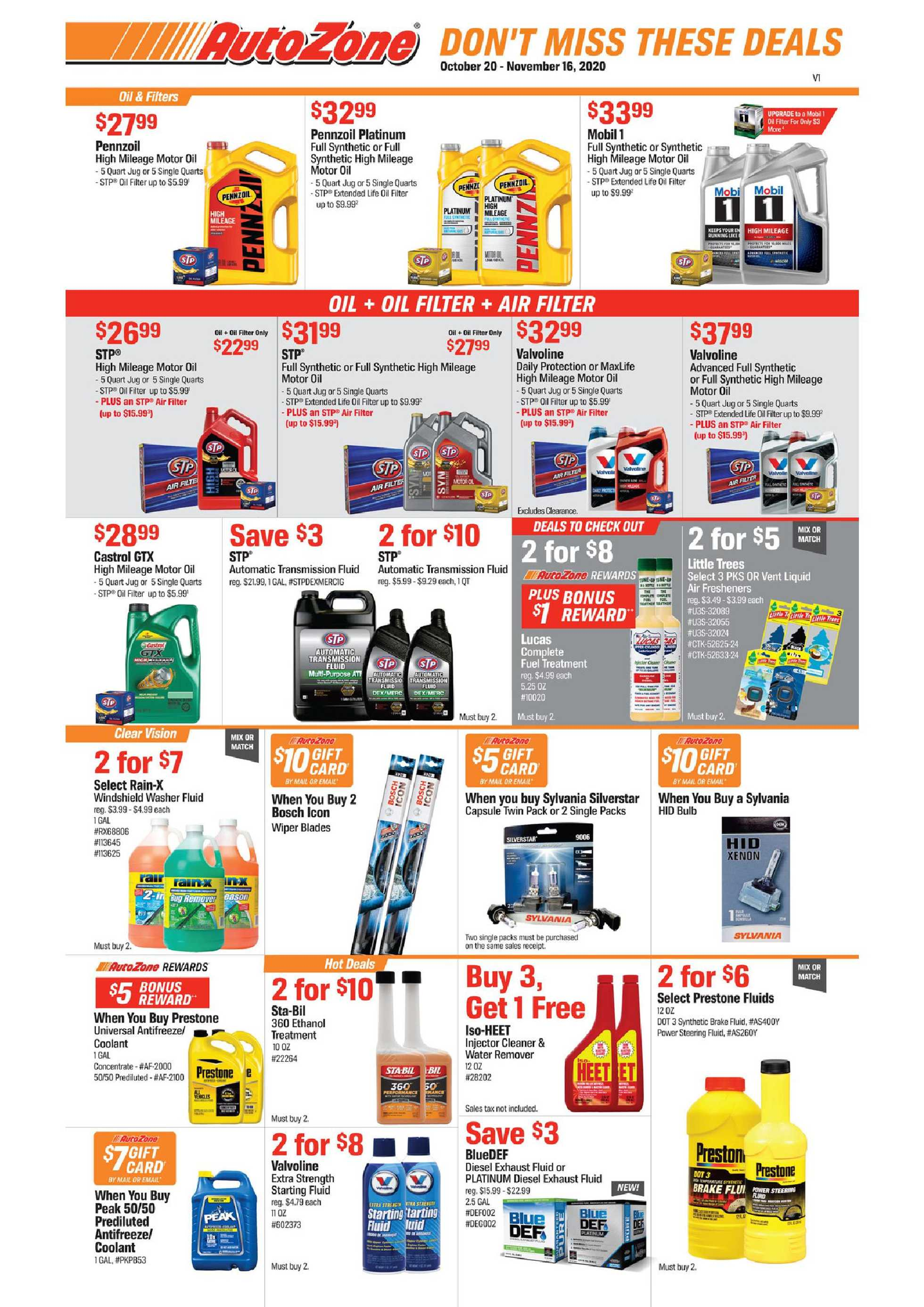AutoZone - deals are valid from 10/20/20 to 11/16/20 - page 1.