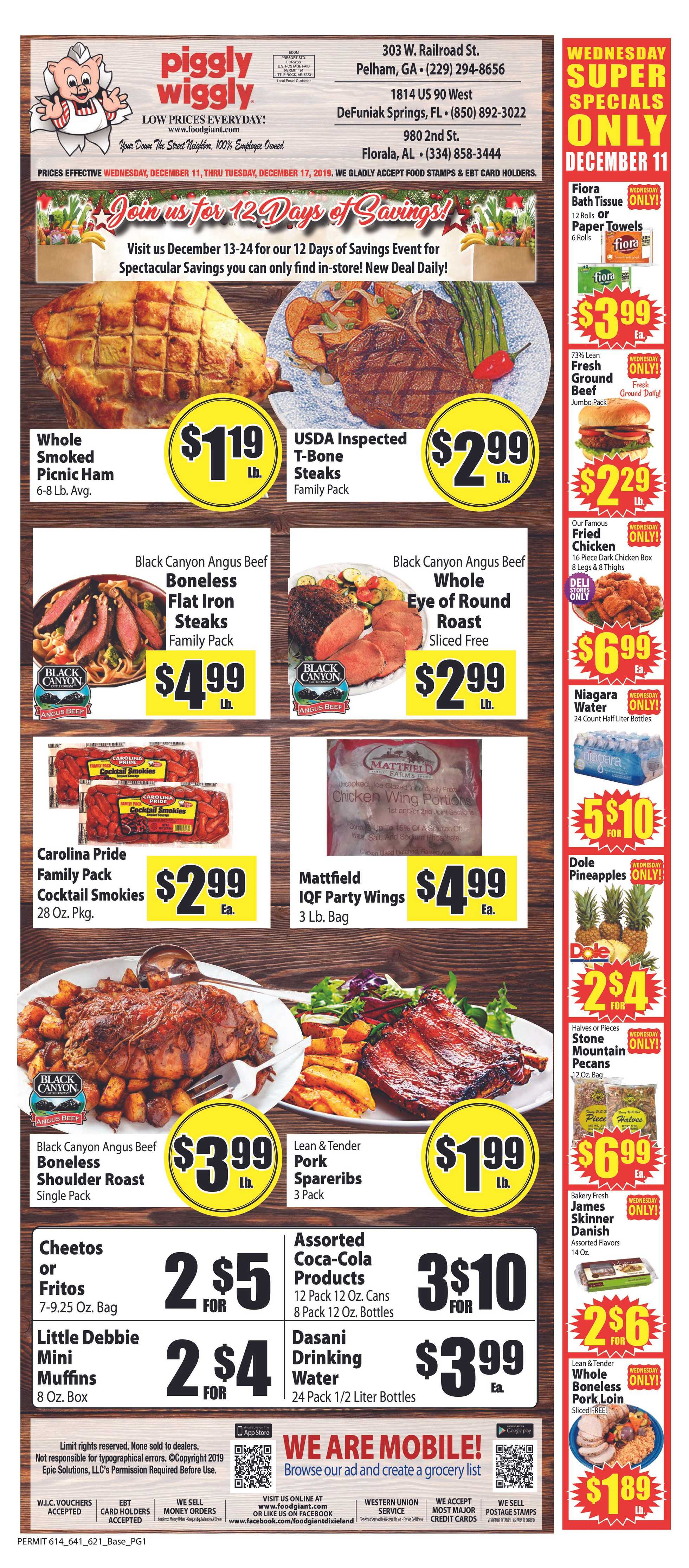 Piggly Wiggly - deals are valid from 12/11/19 to 12/17/19 - page 1.