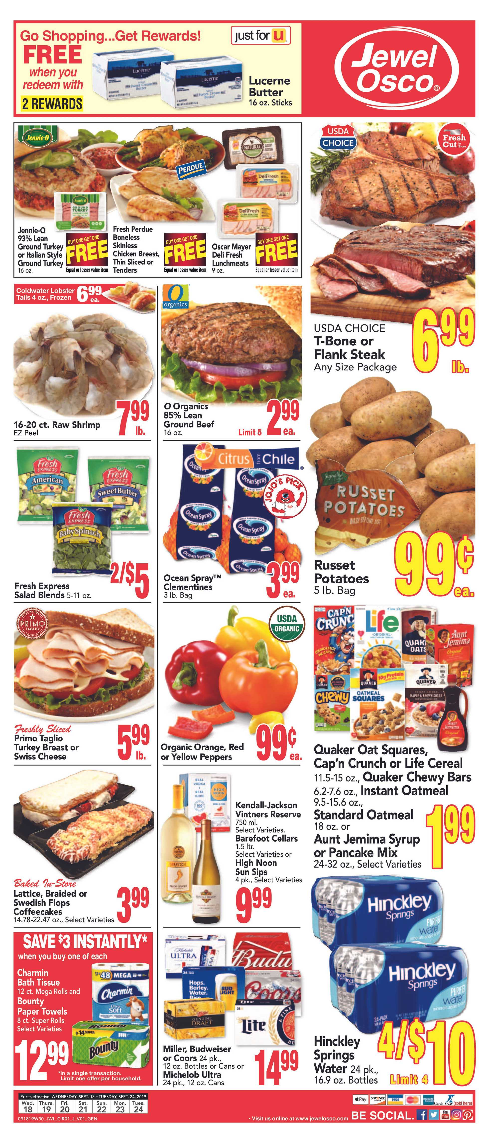 Jewel Osco - deals are valid from 09/18/19 to 09/24/19 - page 1.