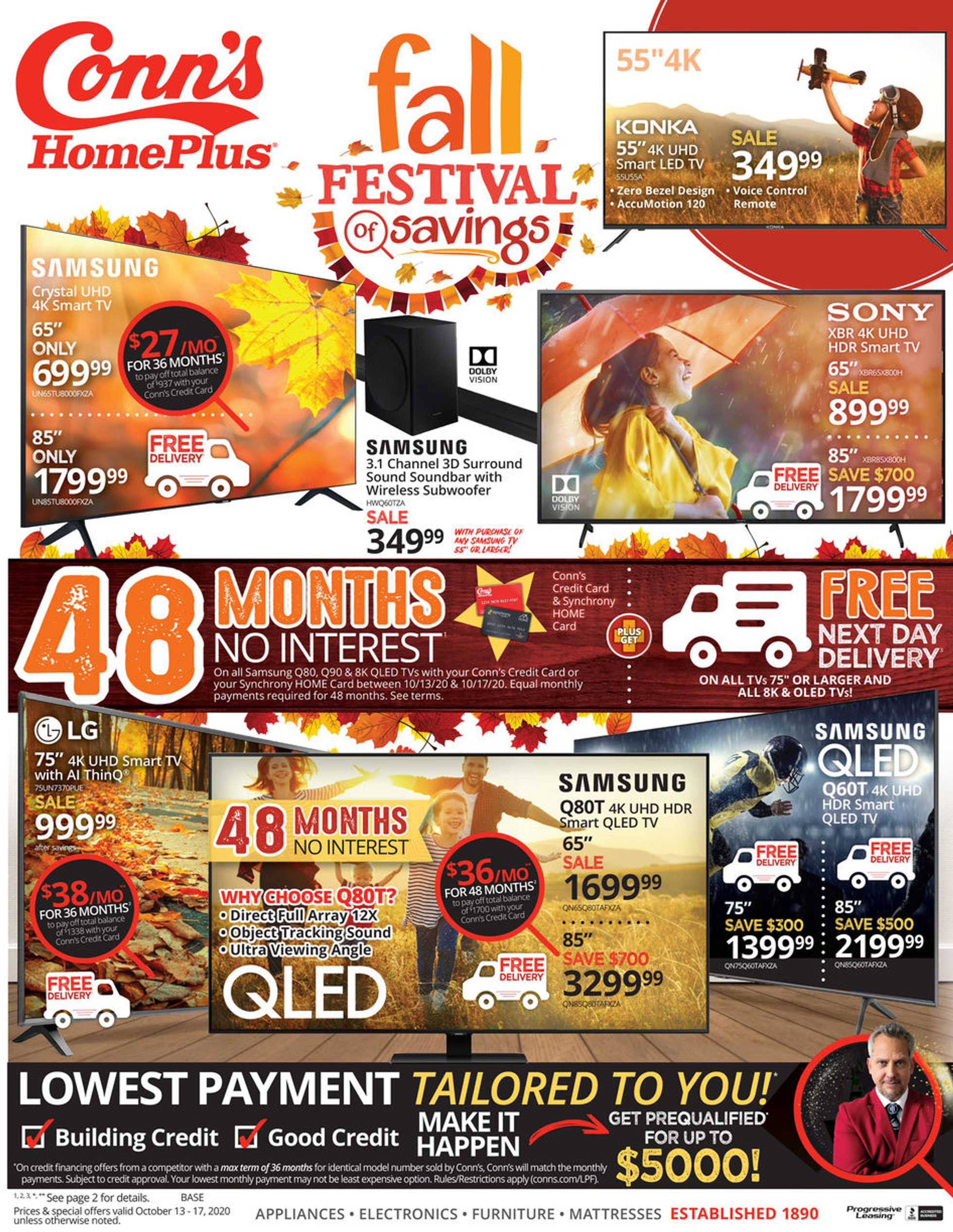 Conn's HomePlus - deals are valid from 10/13/20 to 10/17/20 - page 1.