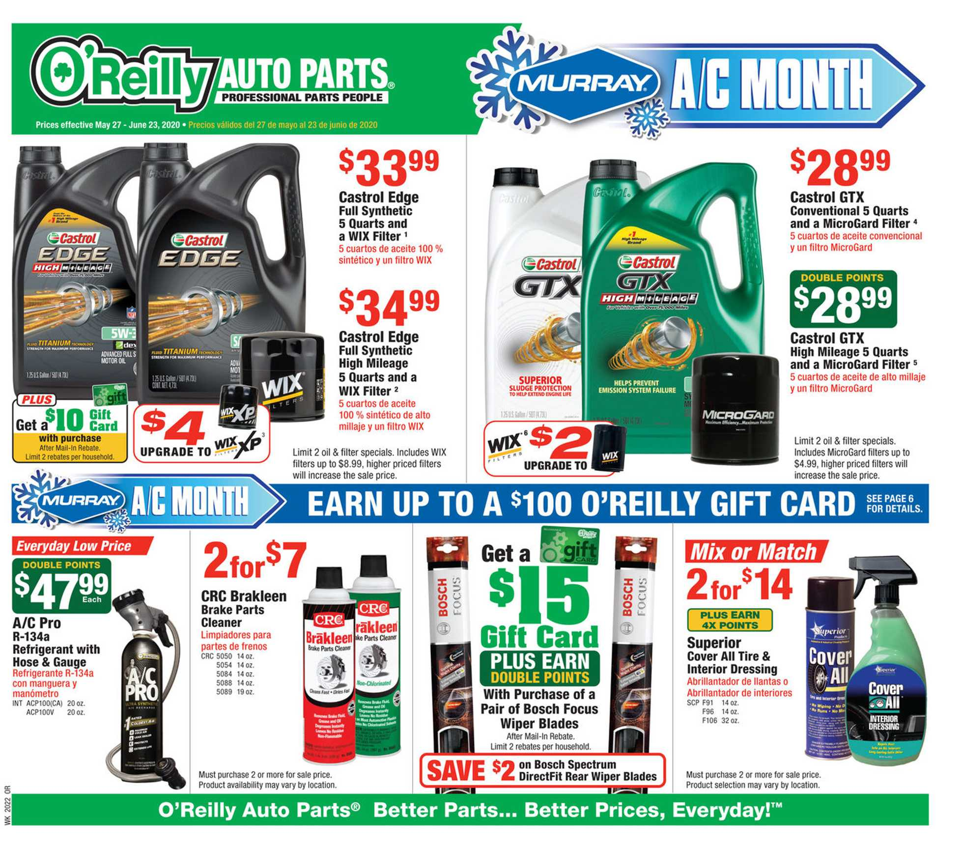 O'reilly - deals are valid from 05/27/20 to 06/23/20 - page 1.